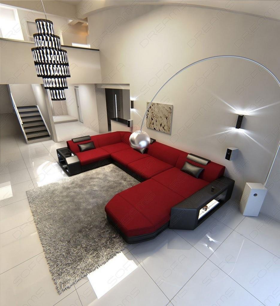 Stoffsofa presto design couch ecksofa mit ottomane und led for Couchgarnitur leder italienisch