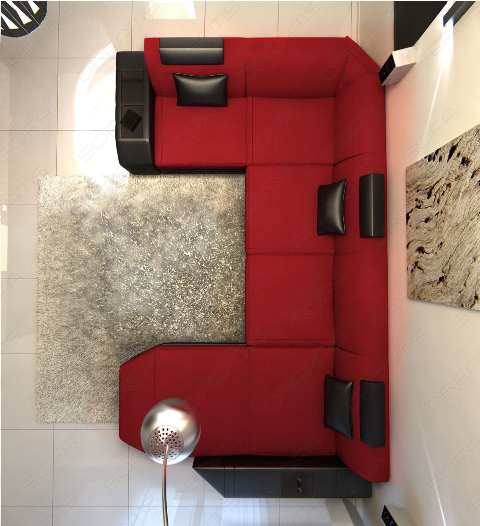 stoffsofa presto design couch ecksofa mit ottomane und led beleuchtung in rot ebay. Black Bedroom Furniture Sets. Home Design Ideas