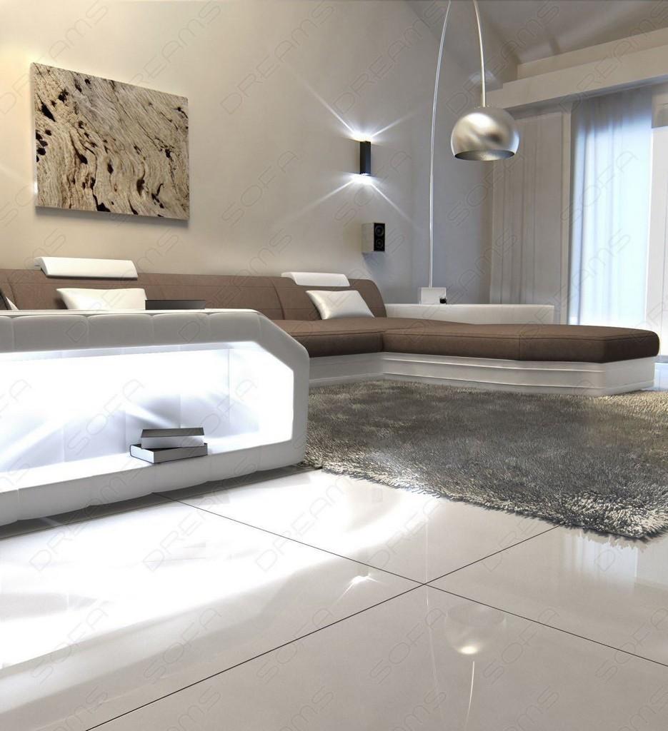 wohnlandschaft presto u form braun ecksofa mit led. Black Bedroom Furniture Sets. Home Design Ideas