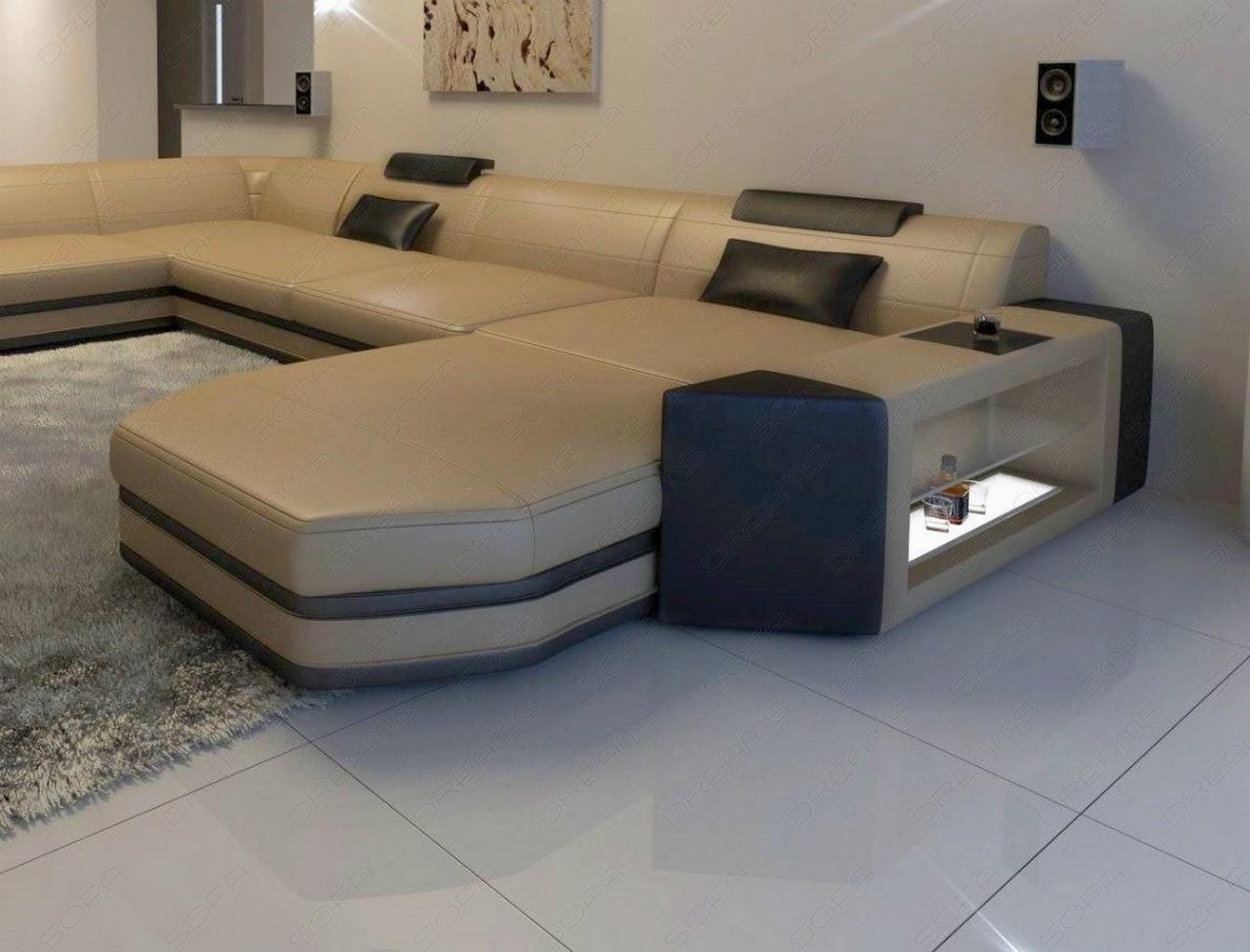 BIG LEATHER SOFA Dallas U Shape illuminated Sectional Sofa ...