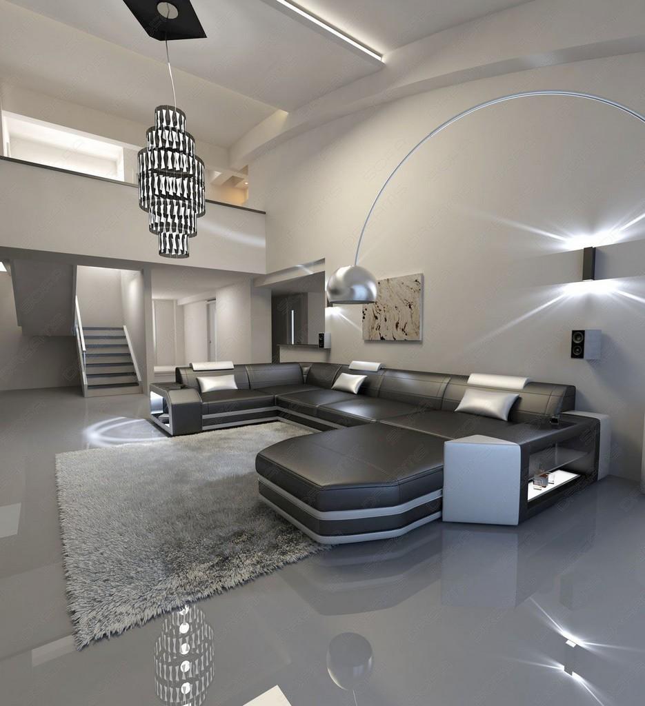 designer sofa presto u shaped with led lights leathersofa. Black Bedroom Furniture Sets. Home Design Ideas