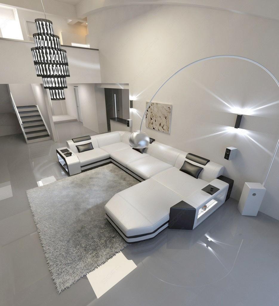 designer sofa presto u shaped with led lights leathersofa white black. Black Bedroom Furniture Sets. Home Design Ideas