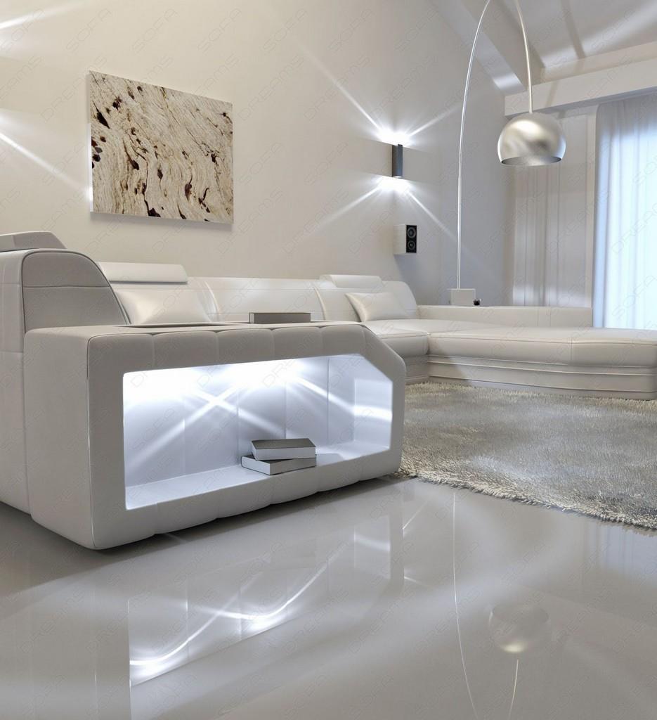 ledersofa presto u form weiss weiss mit beleuchtung. Black Bedroom Furniture Sets. Home Design Ideas