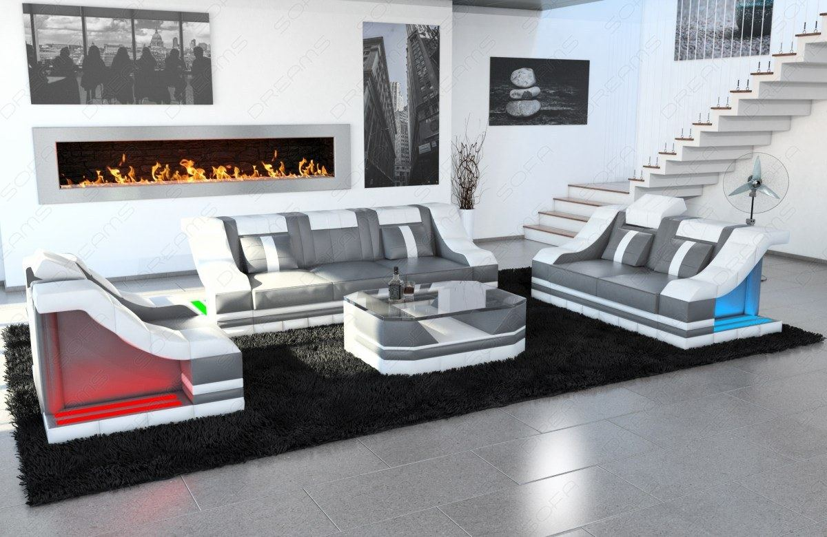 luxus sofagarnitur 3 2 1 couchgarnitur turino premium ledersofa led beleuchtung ebay. Black Bedroom Furniture Sets. Home Design Ideas