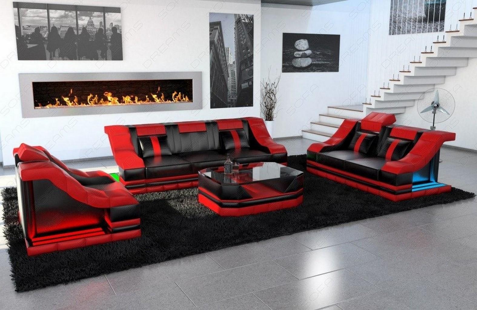 Couchgarnitur design sofagarnitur turino 3 2 1 led for Couchgarnitur italienisches design