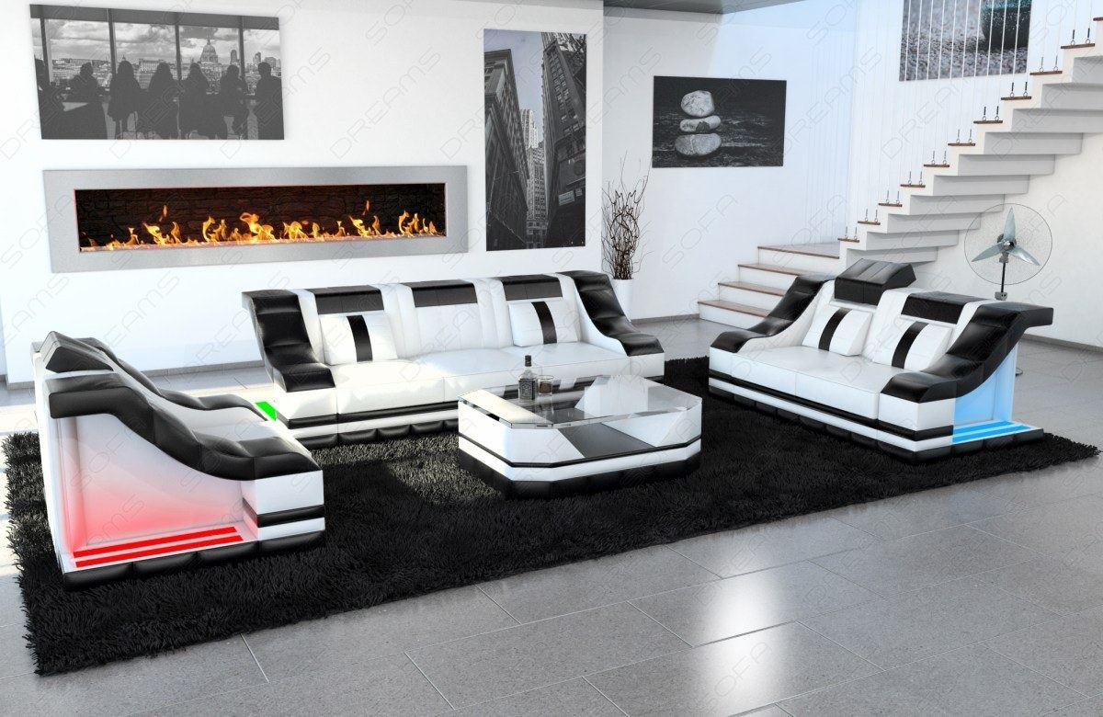 parma lounge suite 3 2 chair designersofa in black. Black Bedroom Furniture Sets. Home Design Ideas