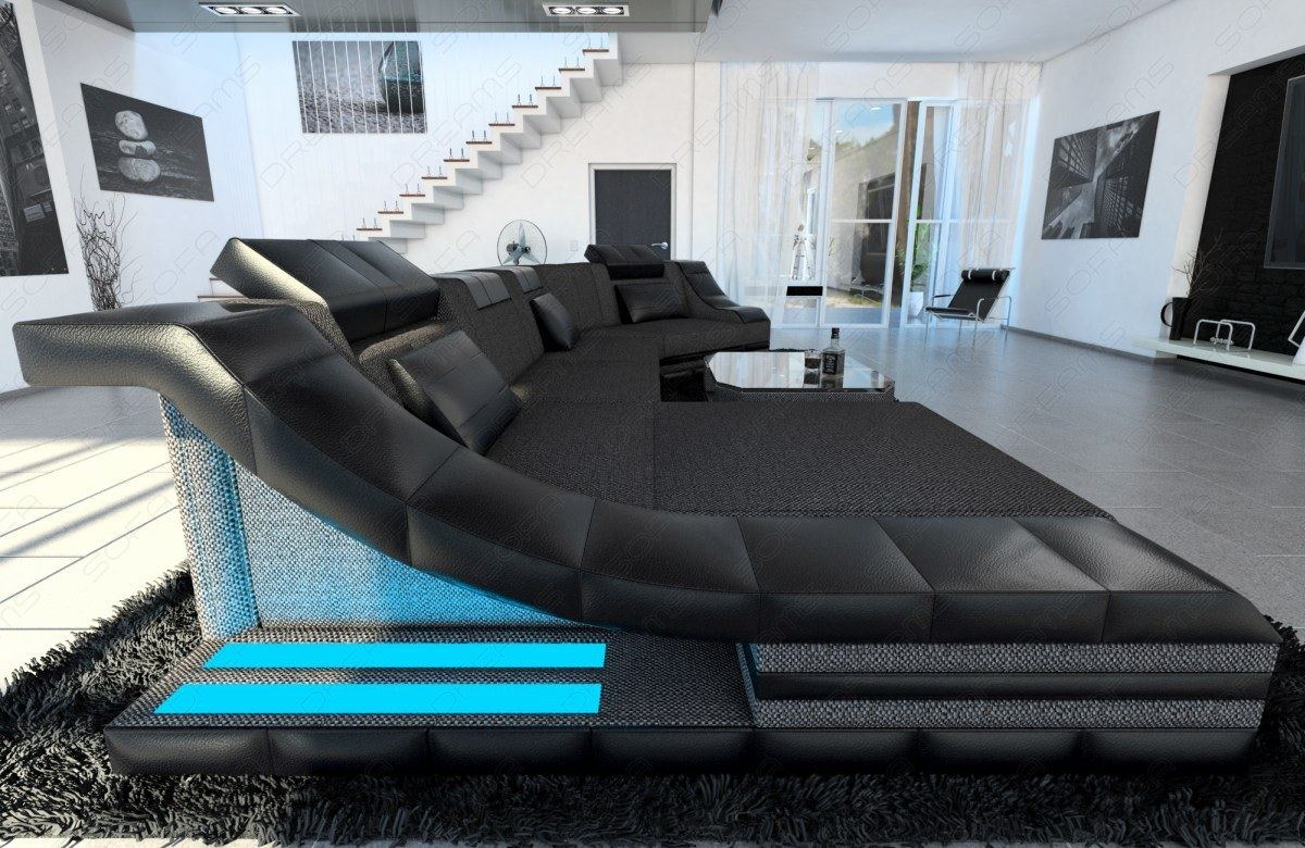 stoffcouch wohnlandschaft polsterecke turino c form leder stoff mix designsofa ebay. Black Bedroom Furniture Sets. Home Design Ideas