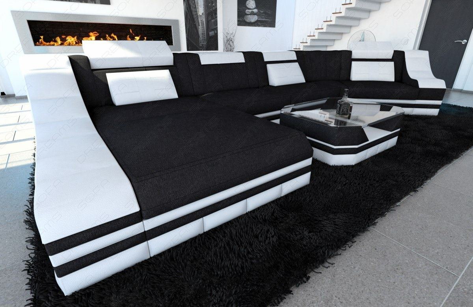 stoffcouch wohnlandschaft polsterecke turino c form leder. Black Bedroom Furniture Sets. Home Design Ideas