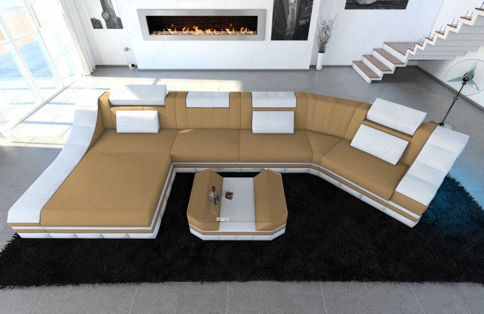 Fabric Sectional Sofa New York C Shape Modular Sofa LED Ligh