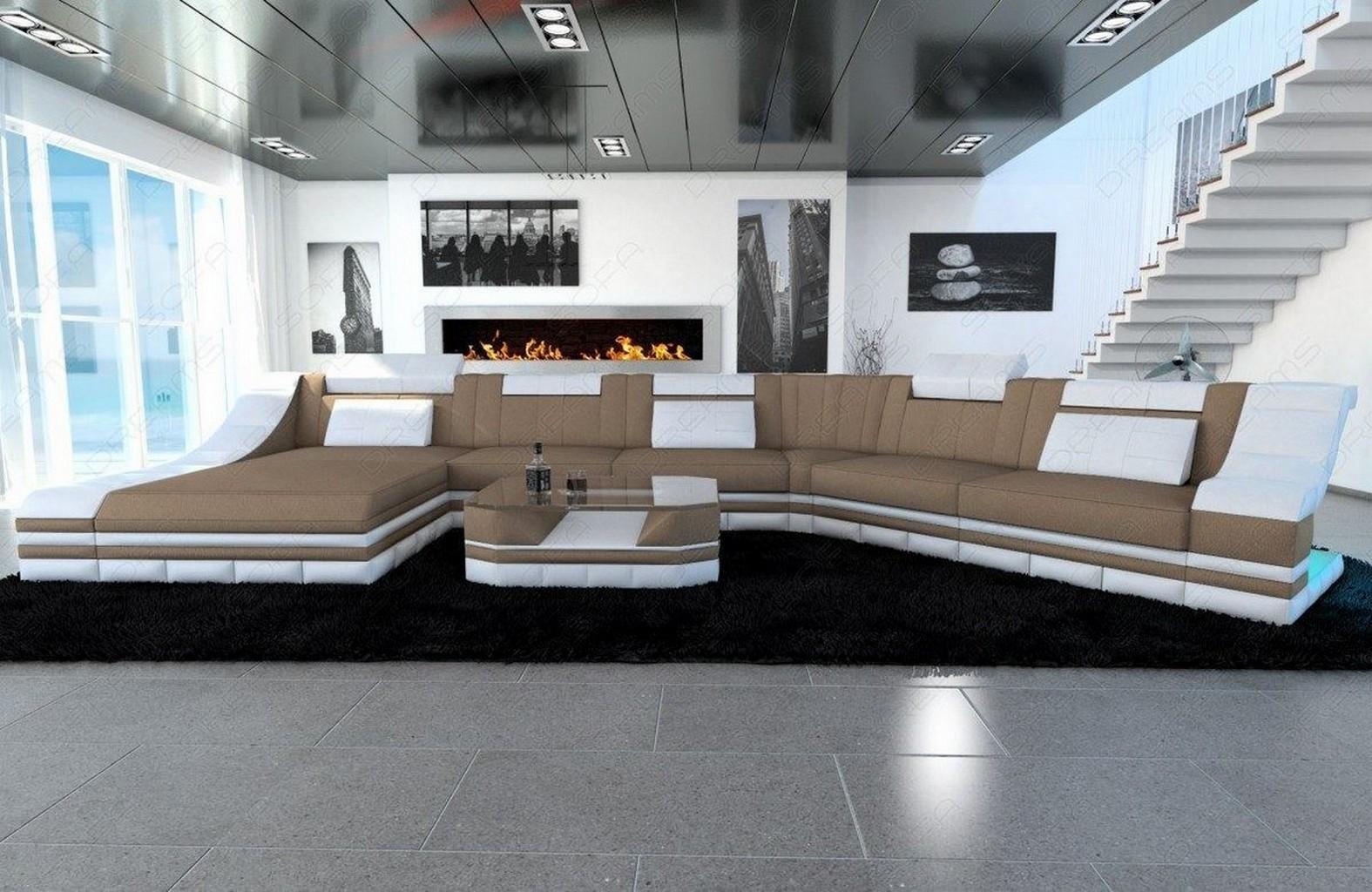 wohnlandschaft polstersofa stoffcouch turino cl sandbeige. Black Bedroom Furniture Sets. Home Design Ideas