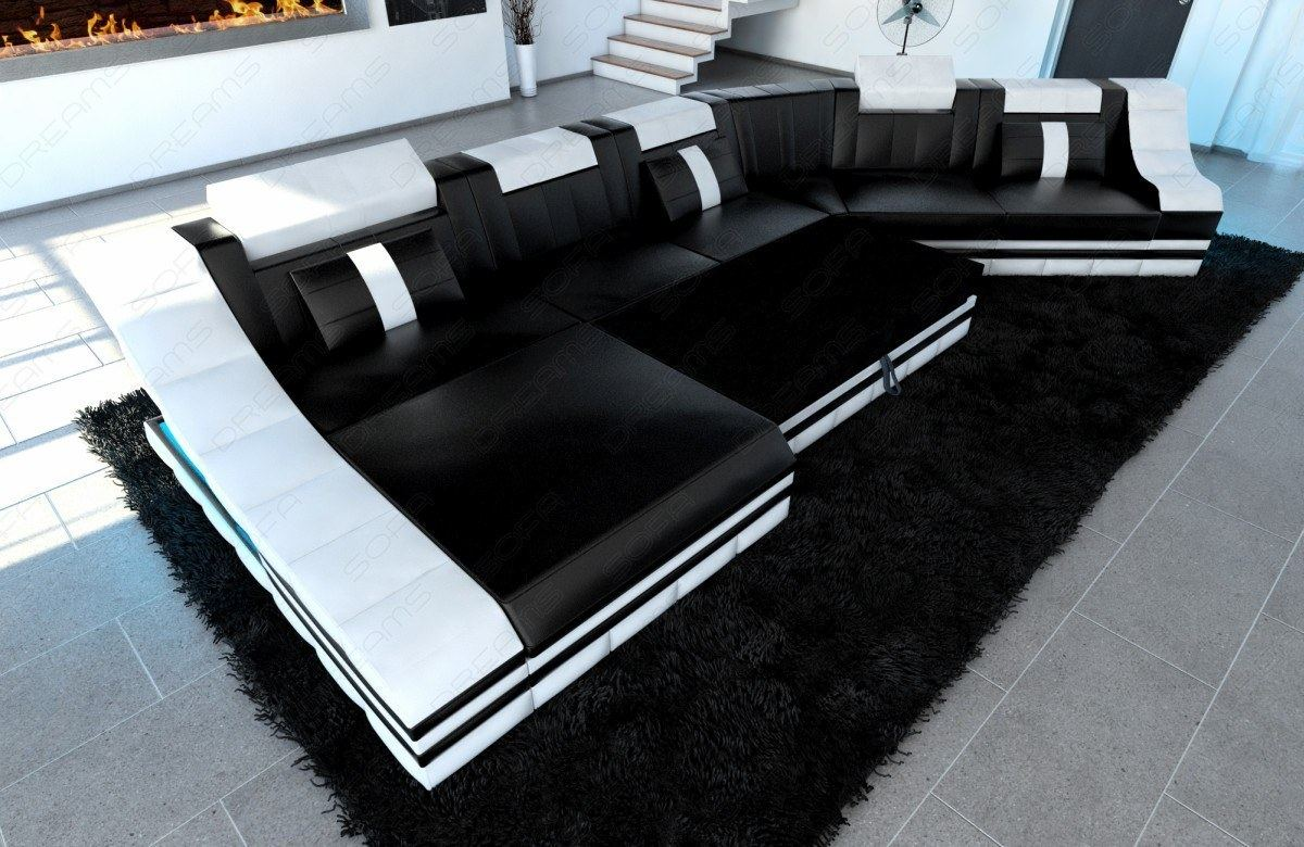 ledergarnitur turino cl wohnlandschaft ledersofa couch ecksofa led beleuchtung ebay. Black Bedroom Furniture Sets. Home Design Ideas
