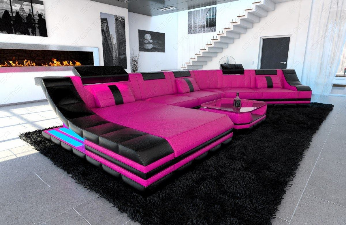 Picture of: Sectional Corner Sofa New York Cl Shape With Led Lights Leather Luxury Design Ebay