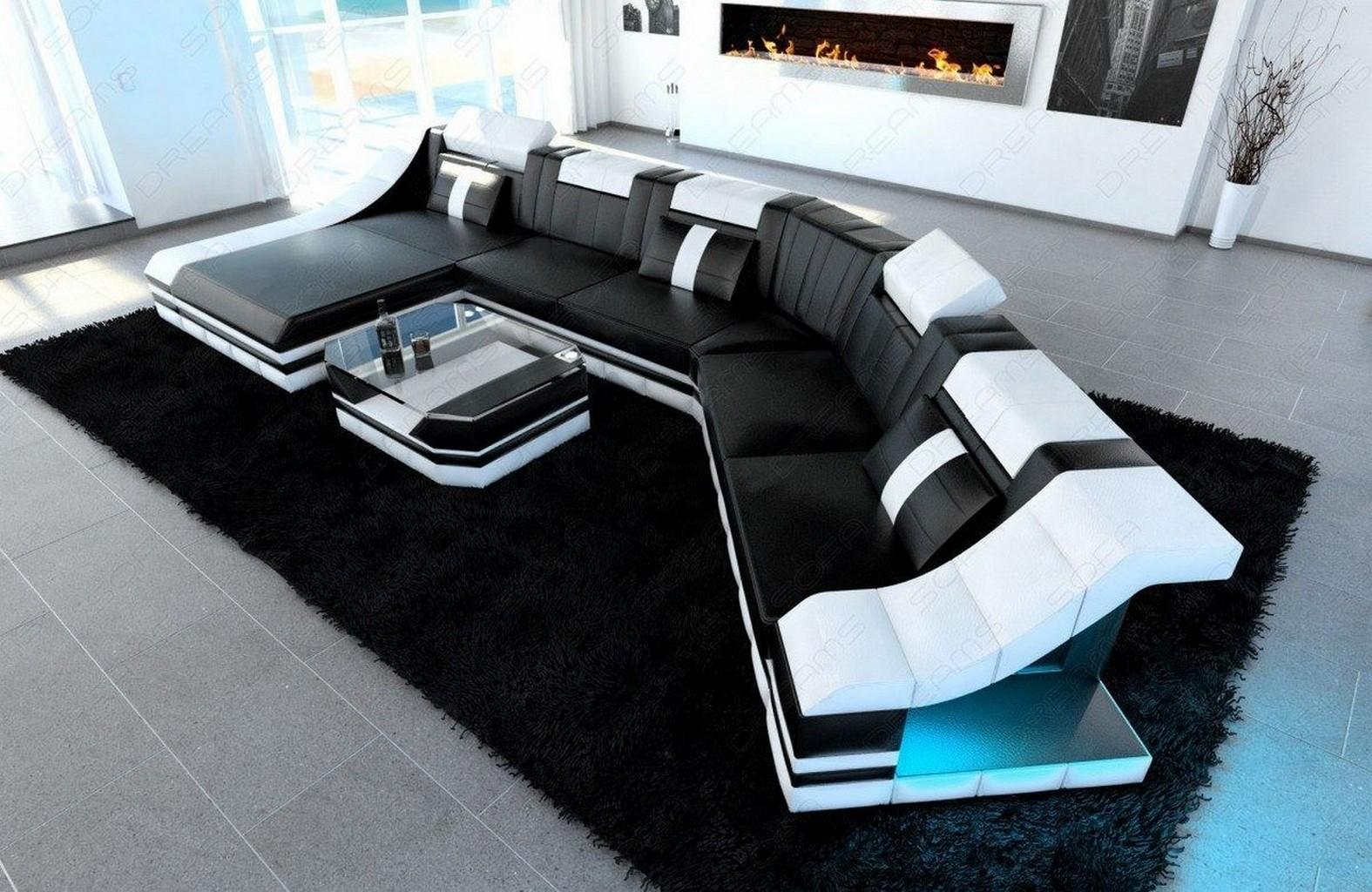 Luxury Sectional Corner Sofa Turino Cl Shape With Led