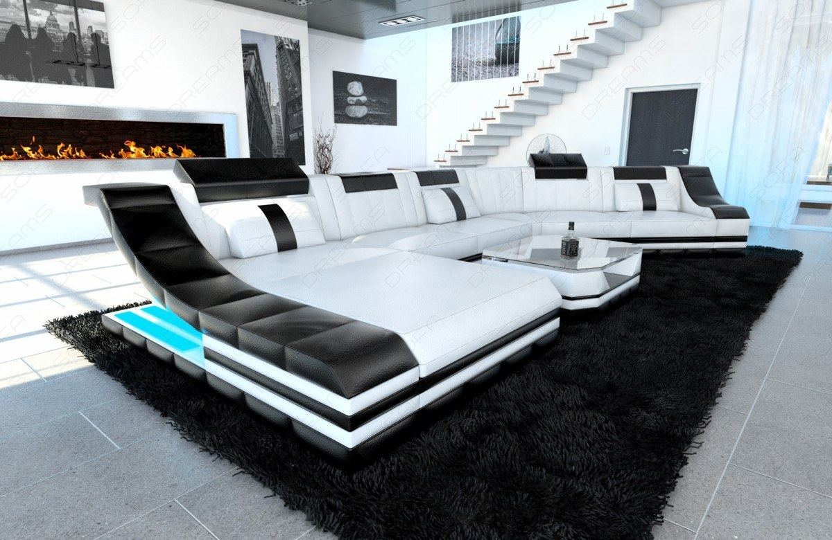 luxury sectional corner sofa new york cl shape with led lights leather sofa ebay. Black Bedroom Furniture Sets. Home Design Ideas