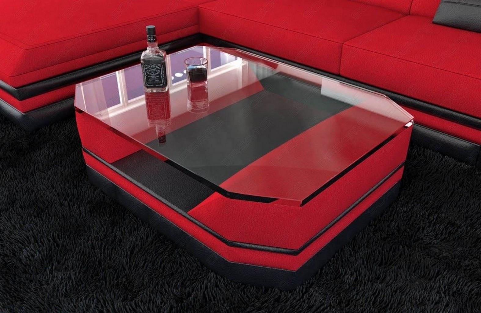 Wohnzimmertisch design turino stoff leder beistelltisch for Designer couchtisch rot