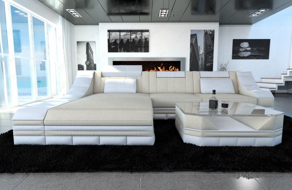 stoffcouch turino l form mit led beleuchtung ecksofa materialmix couch beige ebay. Black Bedroom Furniture Sets. Home Design Ideas