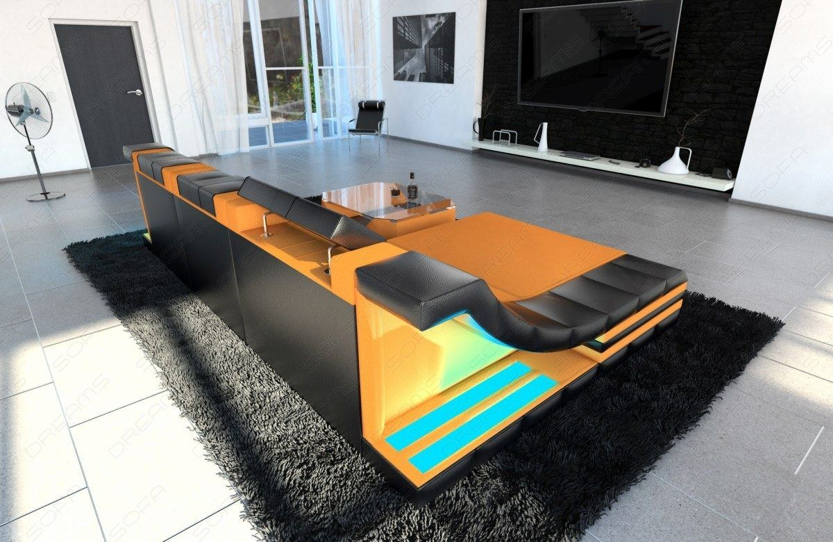 stoff sofa turino l form inkl led beleuchtung ottomane designer eckcouch apricot ebay. Black Bedroom Furniture Sets. Home Design Ideas