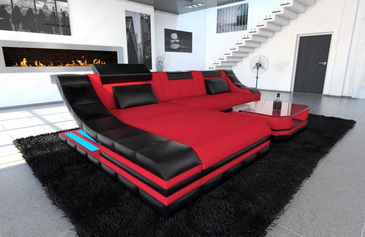 Sectional Fabric Sofa New York L Shape Couch with LED Lights | eBay