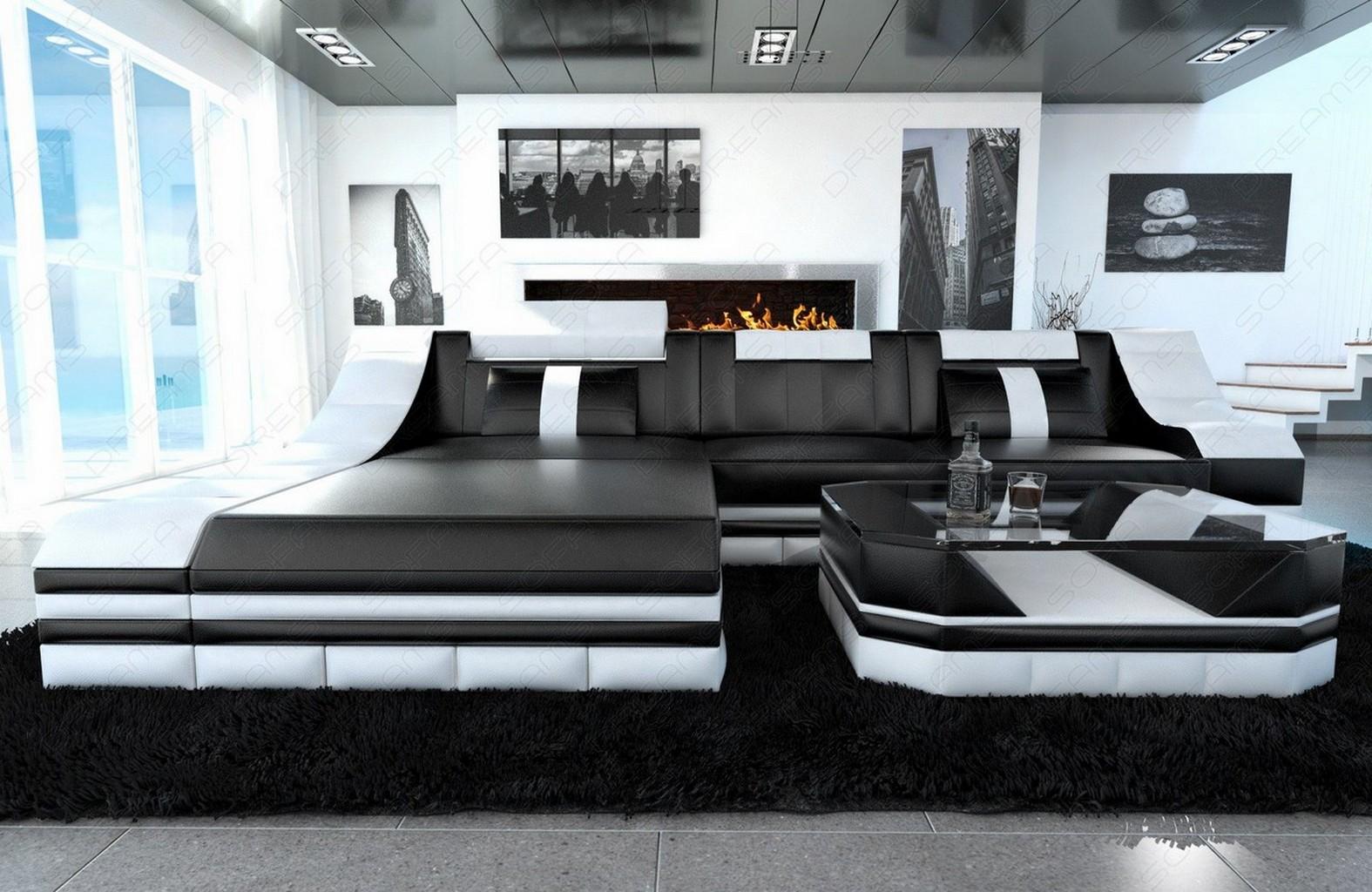 Ledersofa turino l form mit led licht luxus eckcouch schwarz wei lagerware ebay for Einfach schlafzimmer schwarz weis