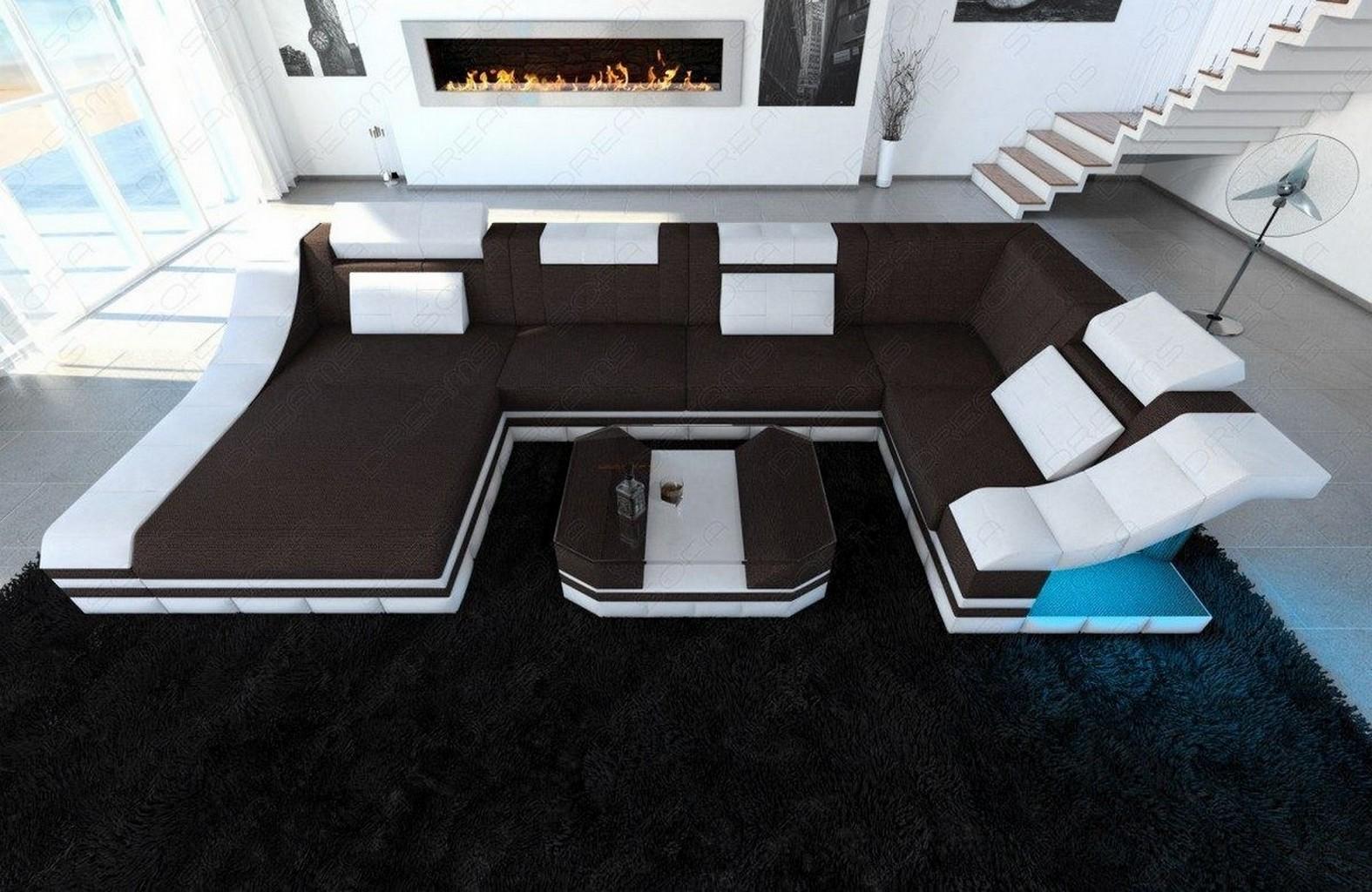 Sofa Wohnlandschaft Turino U Form Mit Led Webstoff Strukturstoff Couch Ecksofa Ebay