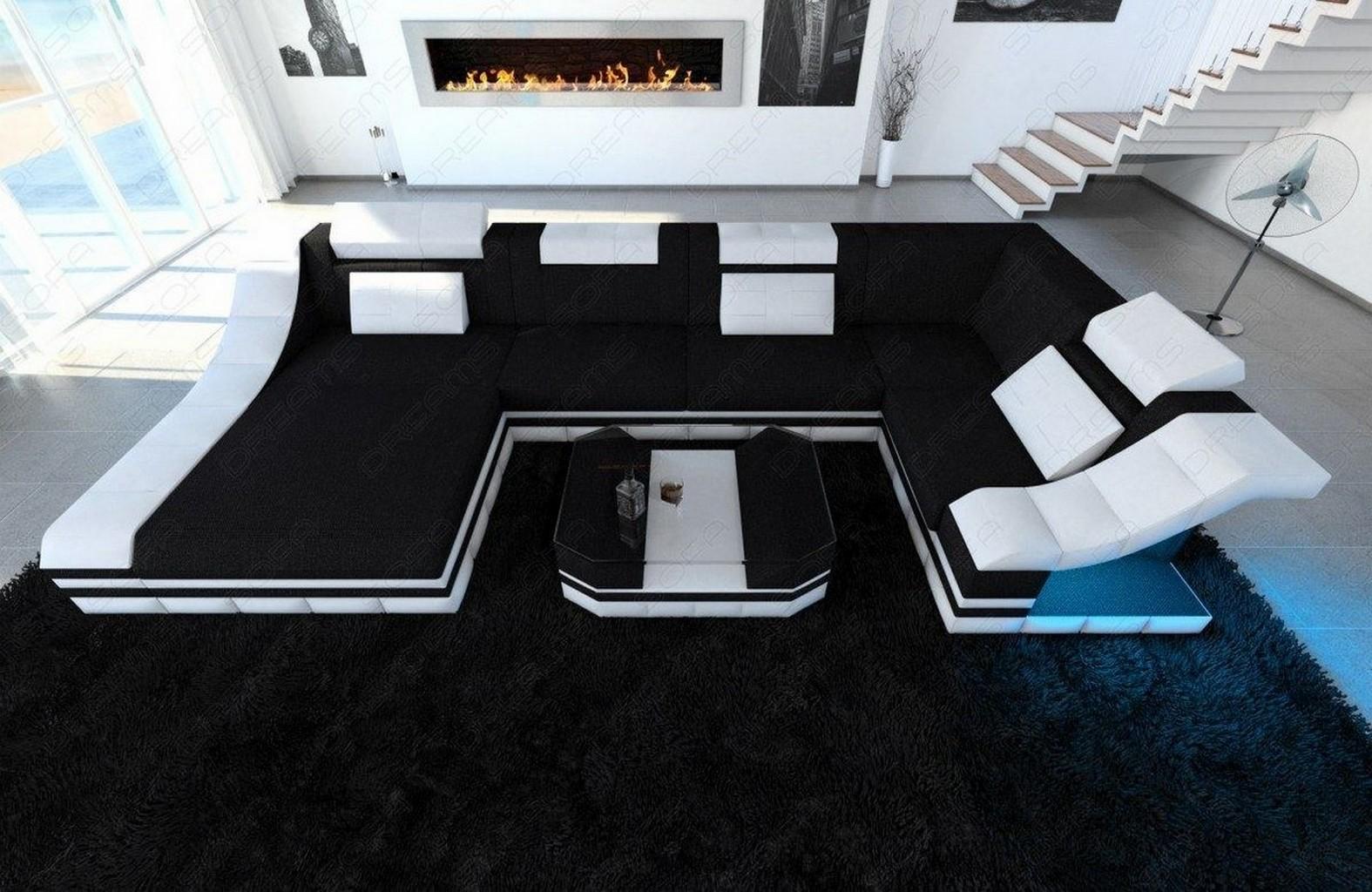 wohnlandschaft couch garnitur turino u form stoffsofa eckcouch led beleuchtung ebay. Black Bedroom Furniture Sets. Home Design Ideas