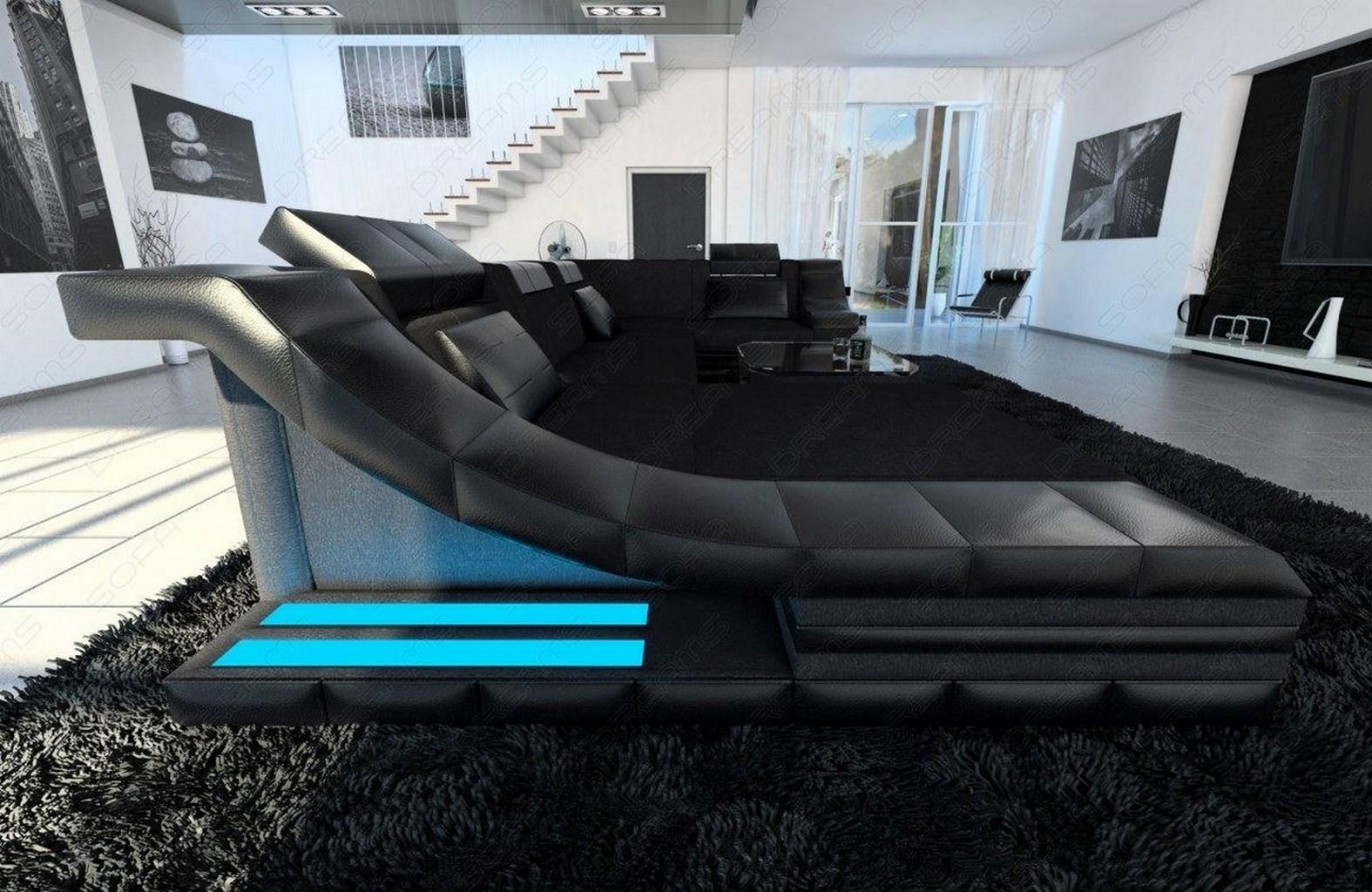 Wohnlandschaft in schwarz TURINO U Form mit LED
