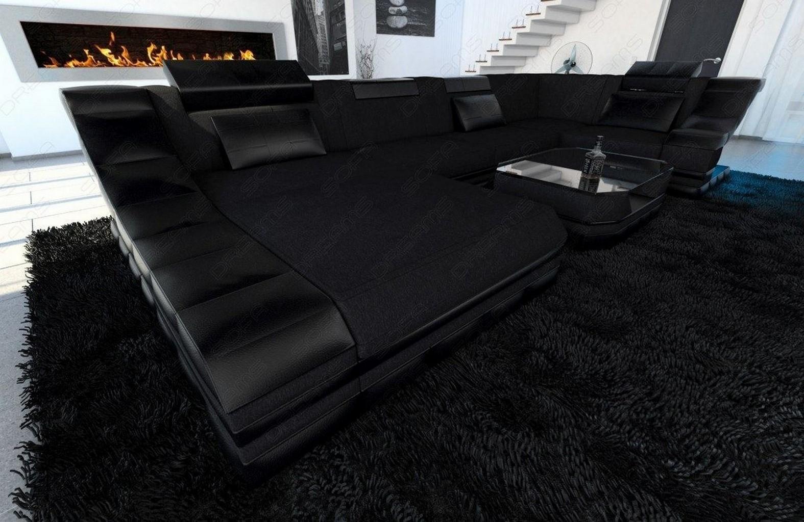 wohnlandschaft in schwarz turino u form mit led beleuchtung stoff sofa ecksofa ebay. Black Bedroom Furniture Sets. Home Design Ideas