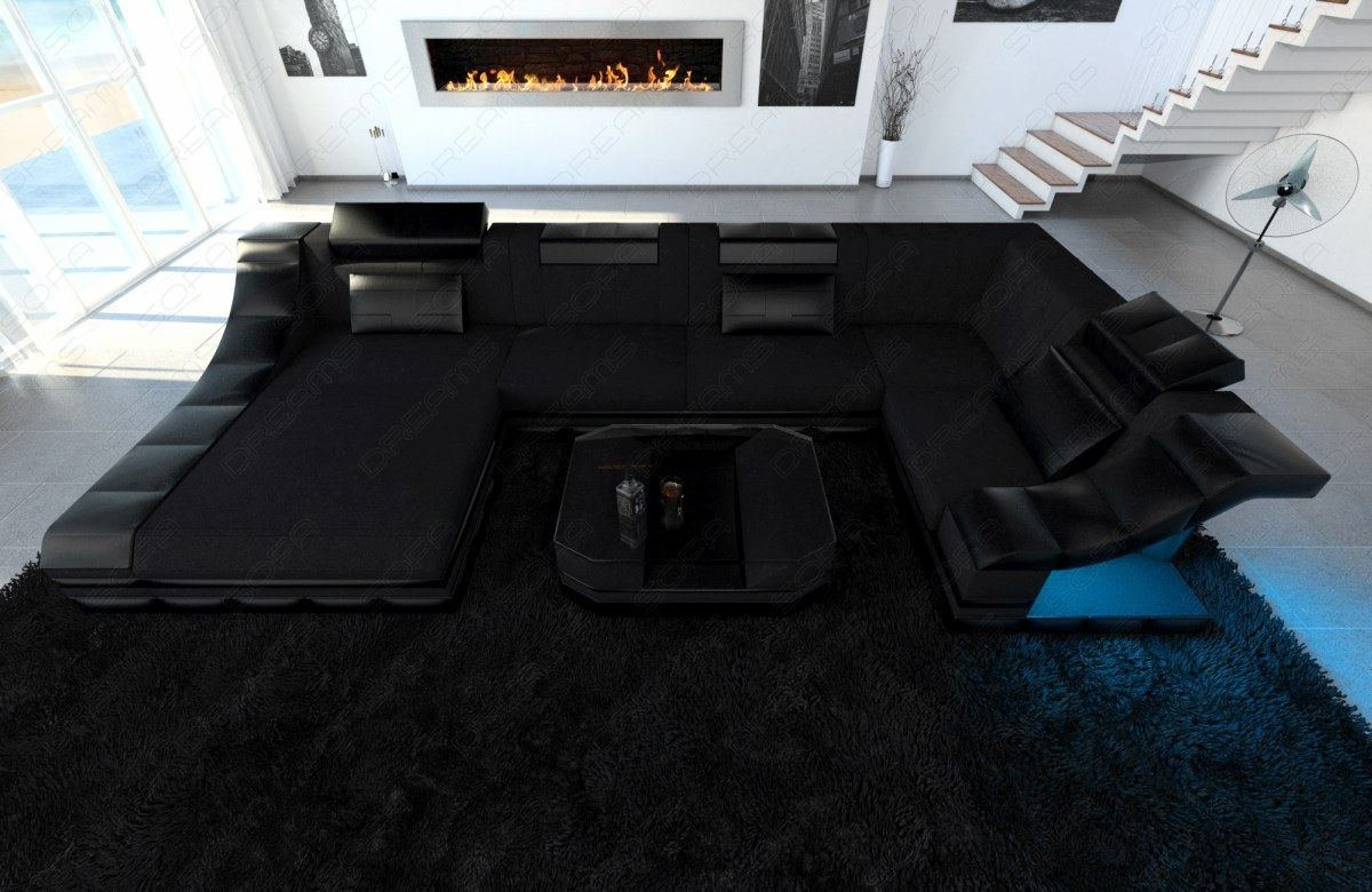 Interior Design In Black Turino U Shape With Led Lighting Fabric Sofa Corner Ebay