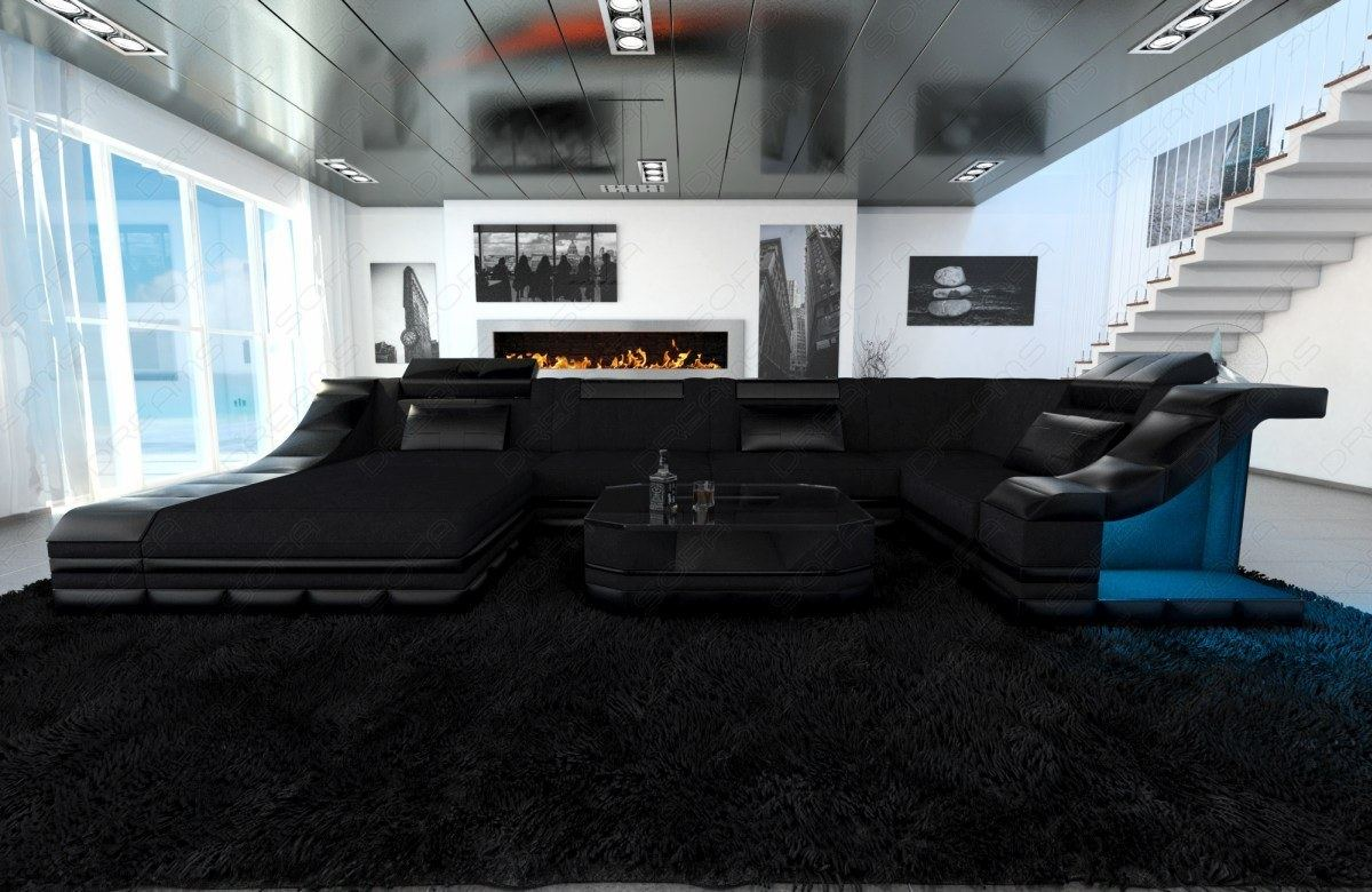 interior design in black turino u shape with led lighting fabric sofa corner ebay. Black Bedroom Furniture Sets. Home Design Ideas