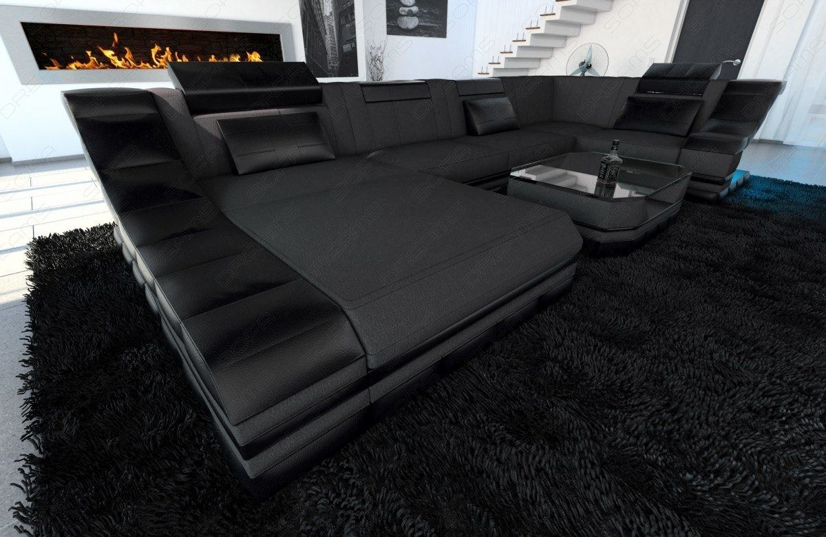 fabric sectional sofa turino u designer couch with led. Black Bedroom Furniture Sets. Home Design Ideas