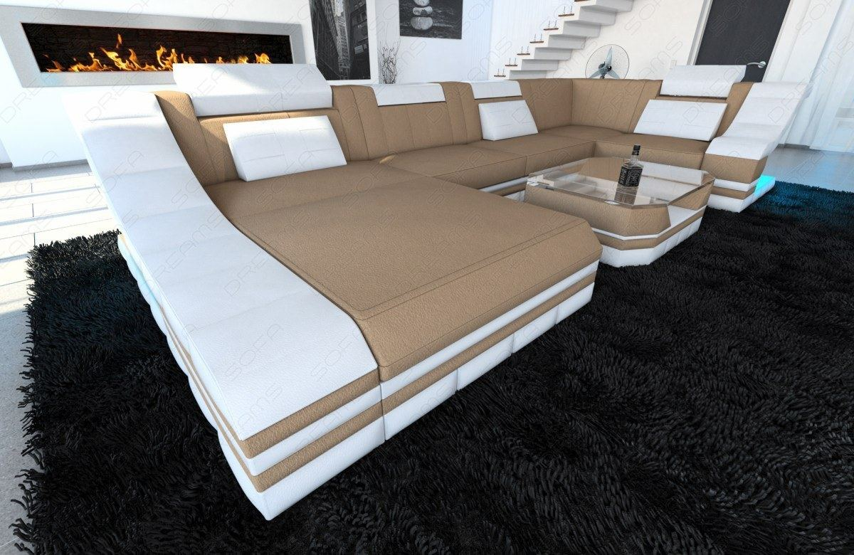 sofa wohnlandschaft stoff turino braun weiss polster couch webstoff megasofa led ebay. Black Bedroom Furniture Sets. Home Design Ideas
