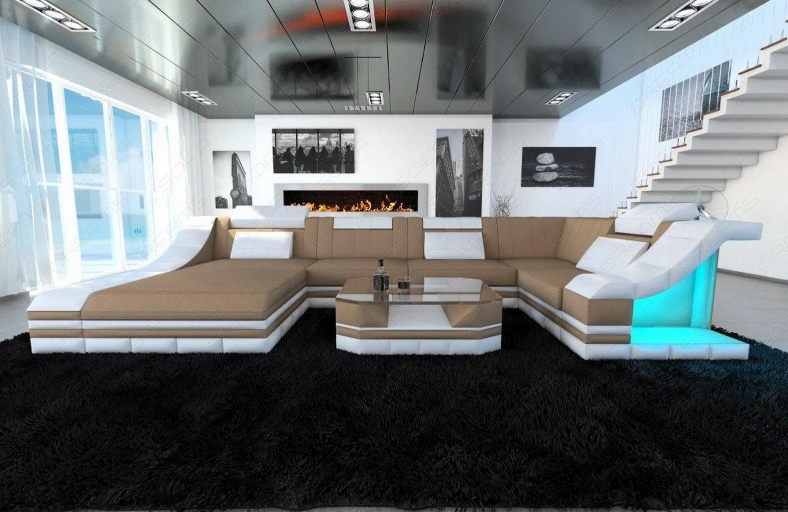 Sofa Wohnlandschaft Stoff Turino Braun Weiss Polster Couch Webstoff Megasofa Led Ebay