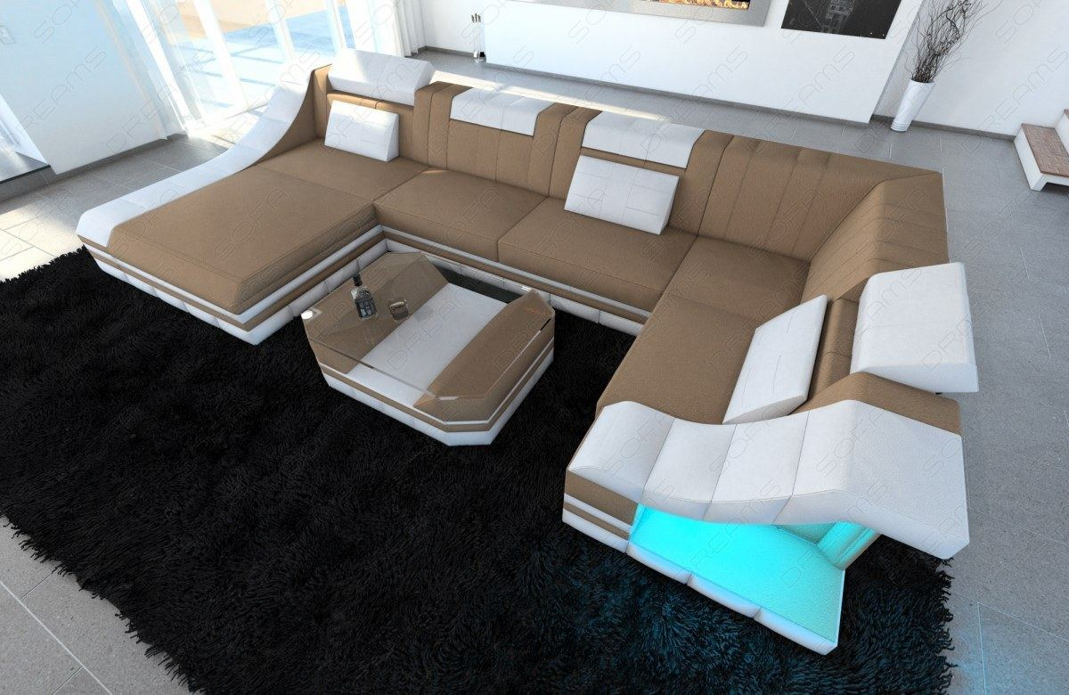 materialmix wohnlandschaft turino u form stoffsofa polsterecke designsofa couch ebay. Black Bedroom Furniture Sets. Home Design Ideas