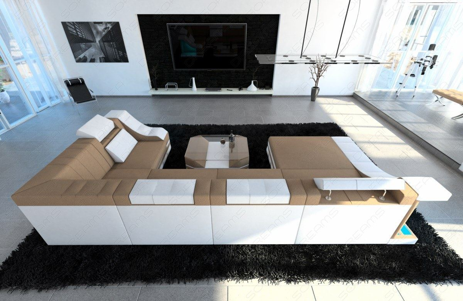 wohnlandschaft stoff turino u form hellbraun stoffsofa. Black Bedroom Furniture Sets. Home Design Ideas