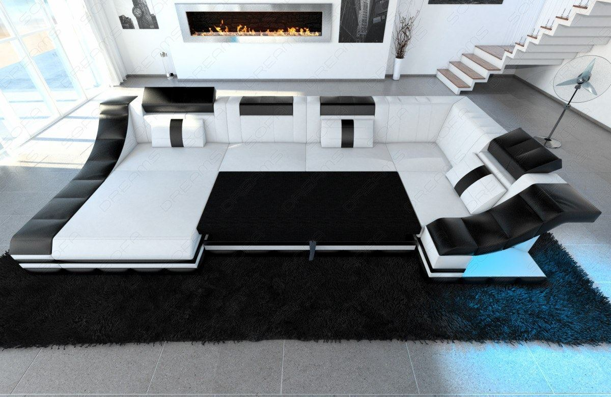 leather sectional sofa turino l shape with led lights design sofa luxury ebay. Black Bedroom Furniture Sets. Home Design Ideas