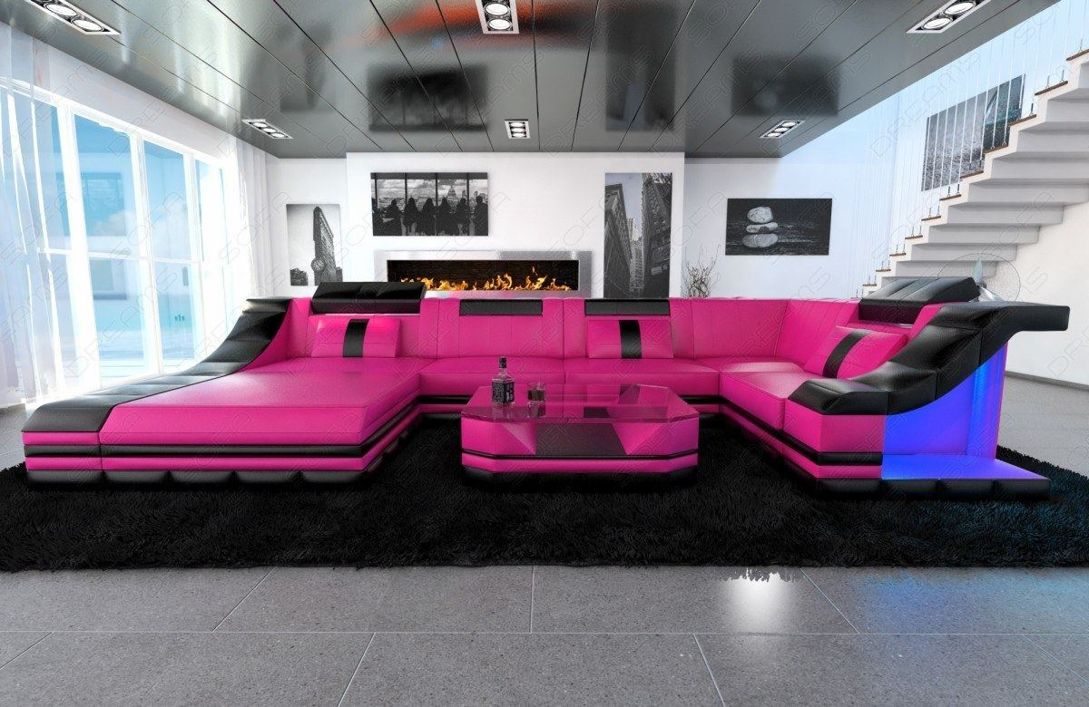 sectional sofa turino u shape with led genuine leather design sofa. Black Bedroom Furniture Sets. Home Design Ideas