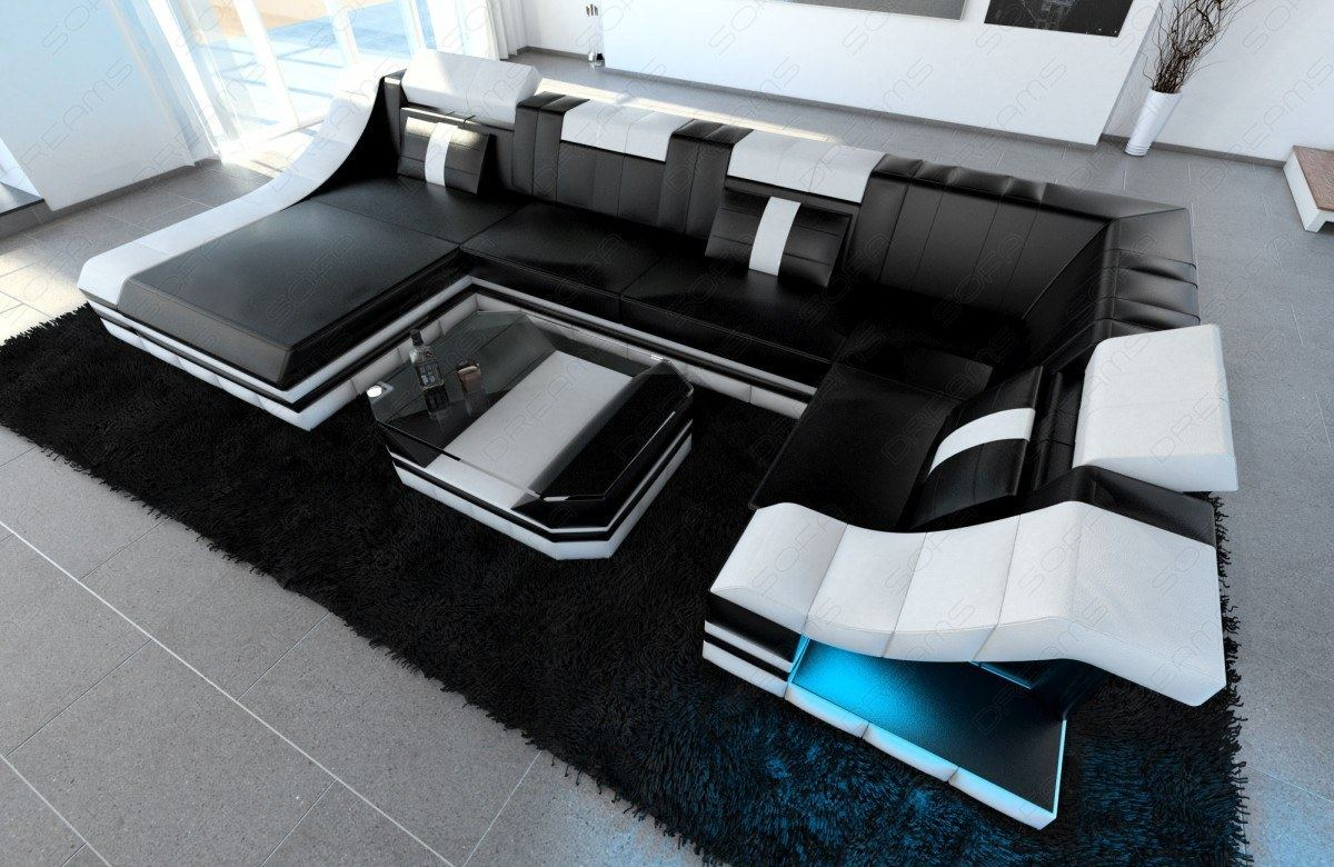Luxury sectional sofa turino u shape with led genuine for Couch mit led