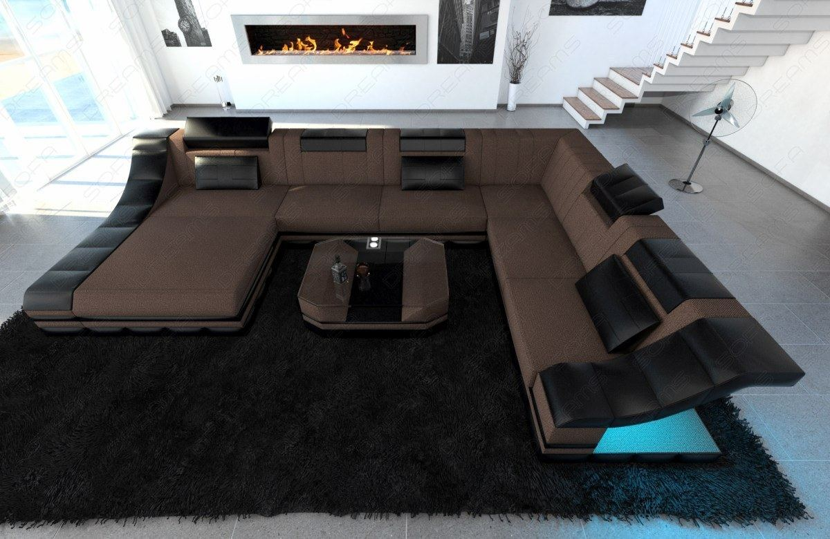 sectional fabric sofa turino xxl design couch with led. Black Bedroom Furniture Sets. Home Design Ideas