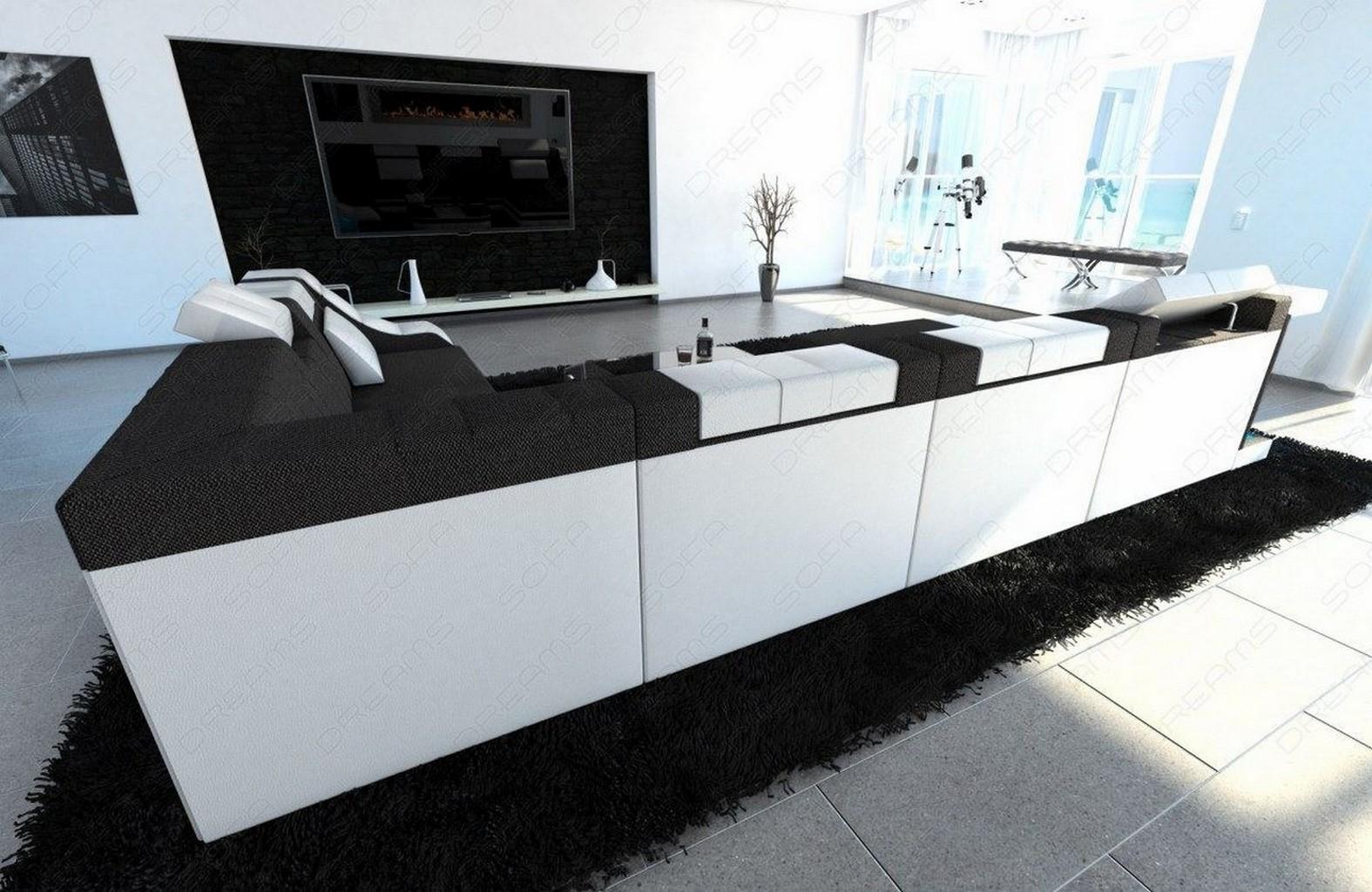 sofa wohnlandschaft polster turino xxl design stoff couch dunkelgrau beleuchtung ebay. Black Bedroom Furniture Sets. Home Design Ideas