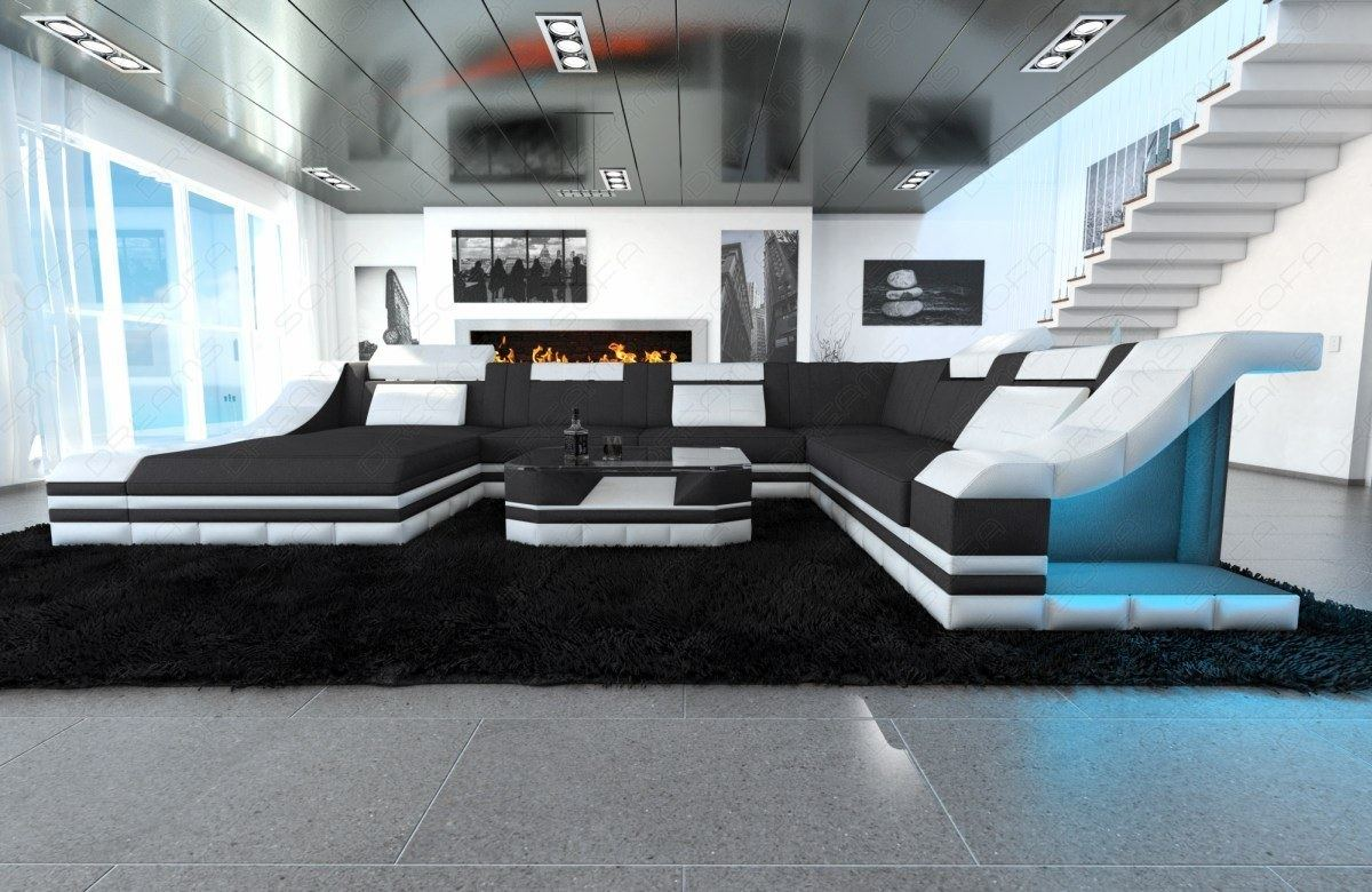 Stoffsofa turino xxl design couch wohnlandschaft for Designer wohnlandschaft xxl
