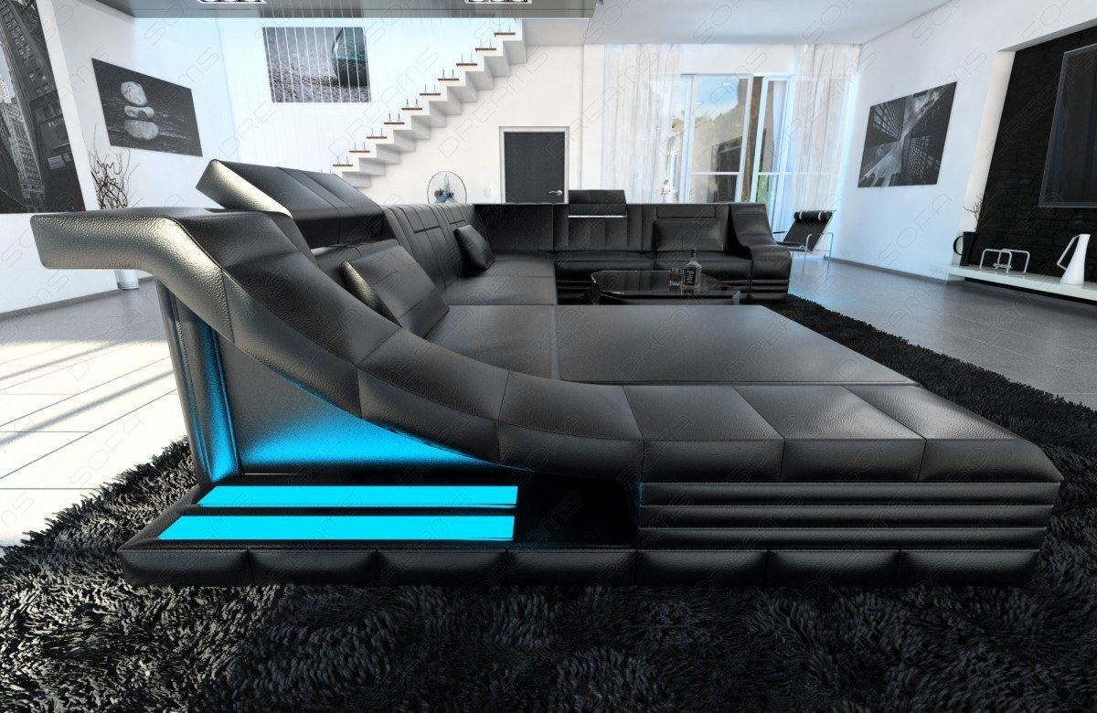 luxury sectional corner sofa new york xl with led genuine leather design couch ebay. Black Bedroom Furniture Sets. Home Design Ideas