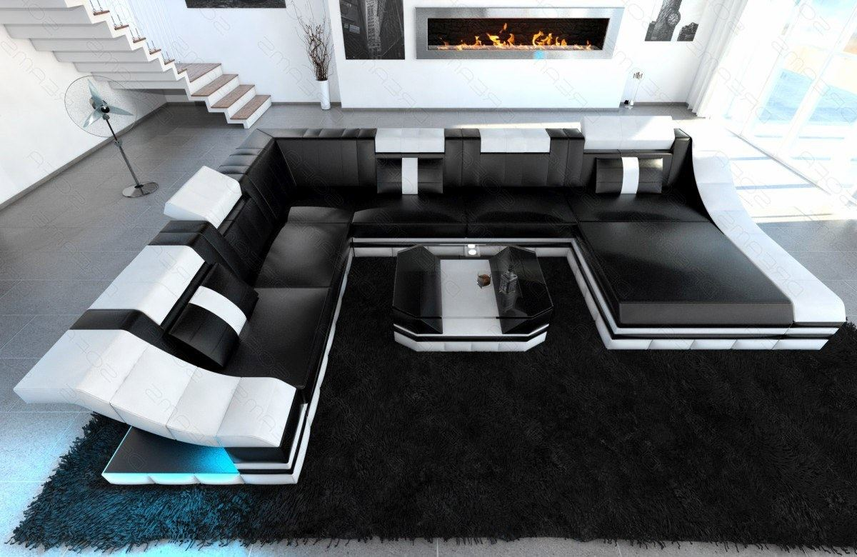 ledercouch luxus wohnlandschaft turino xxl mit schlaffunktion und led lagerware ebay. Black Bedroom Furniture Sets. Home Design Ideas