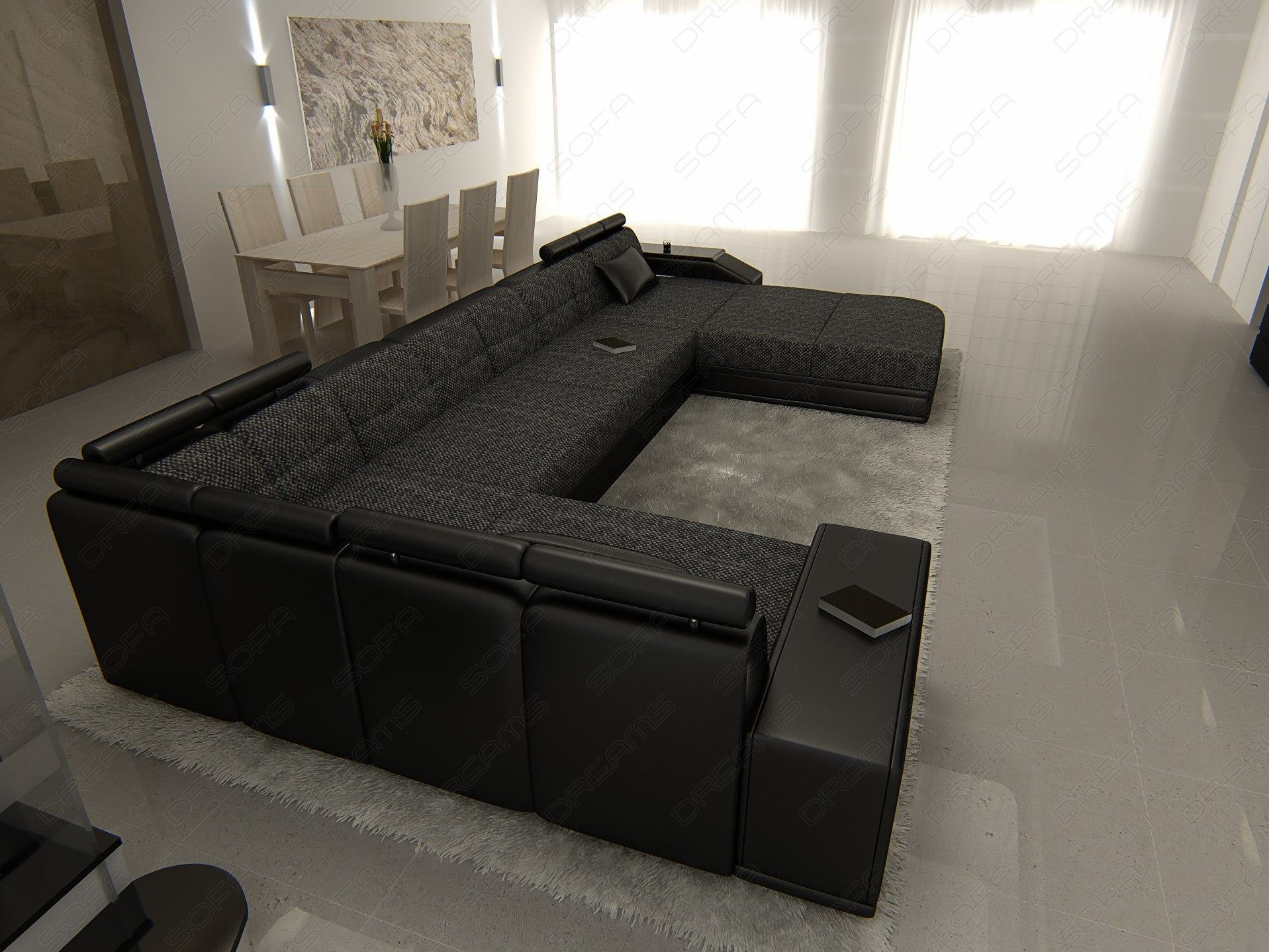 stoffsofa venedig polstersofa stoff wohnlandschaft dunkelgrau ebay. Black Bedroom Furniture Sets. Home Design Ideas