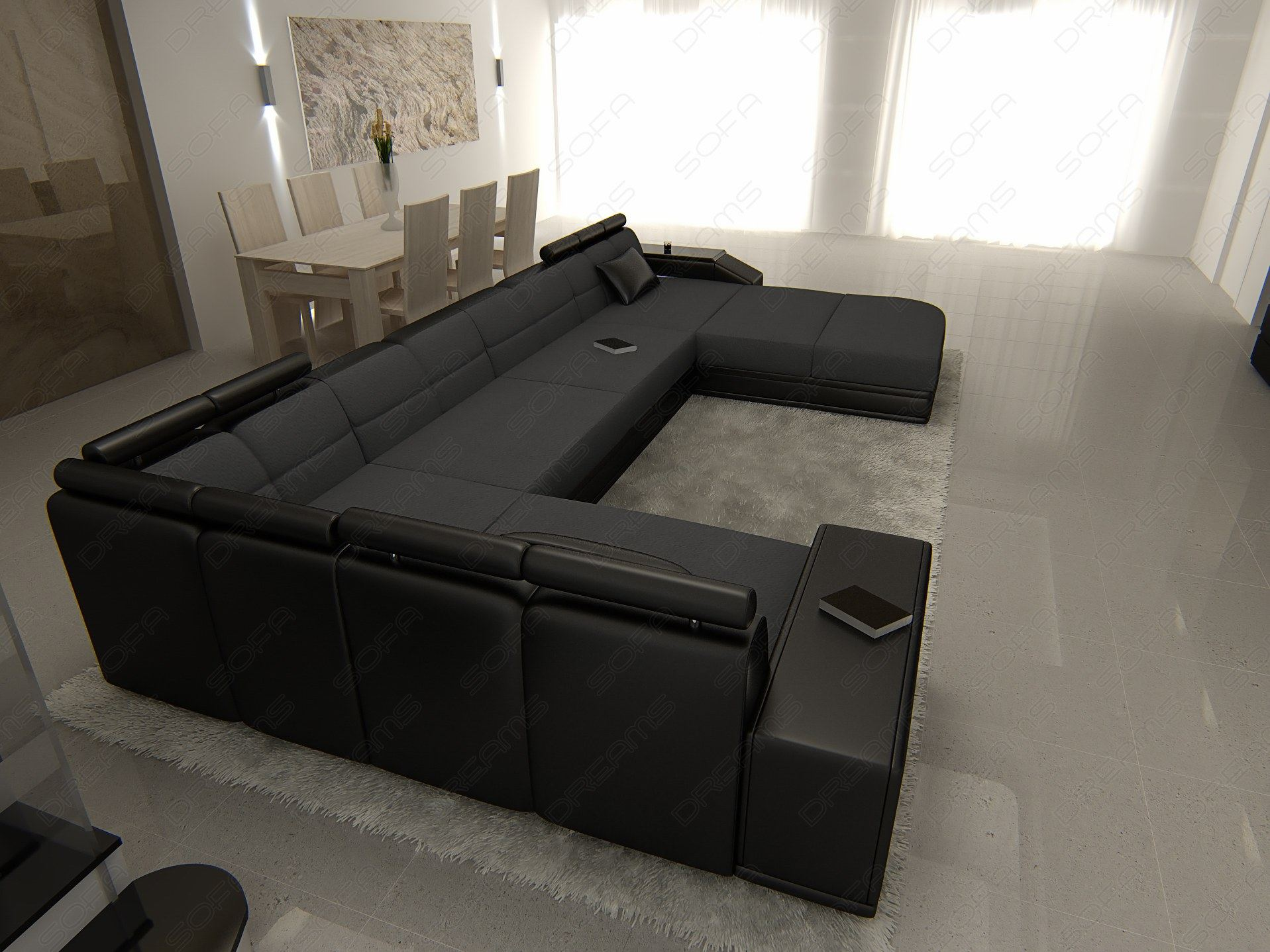 fabric sofa venice u shaped pads sofa dark gray leather. Black Bedroom Furniture Sets. Home Design Ideas
