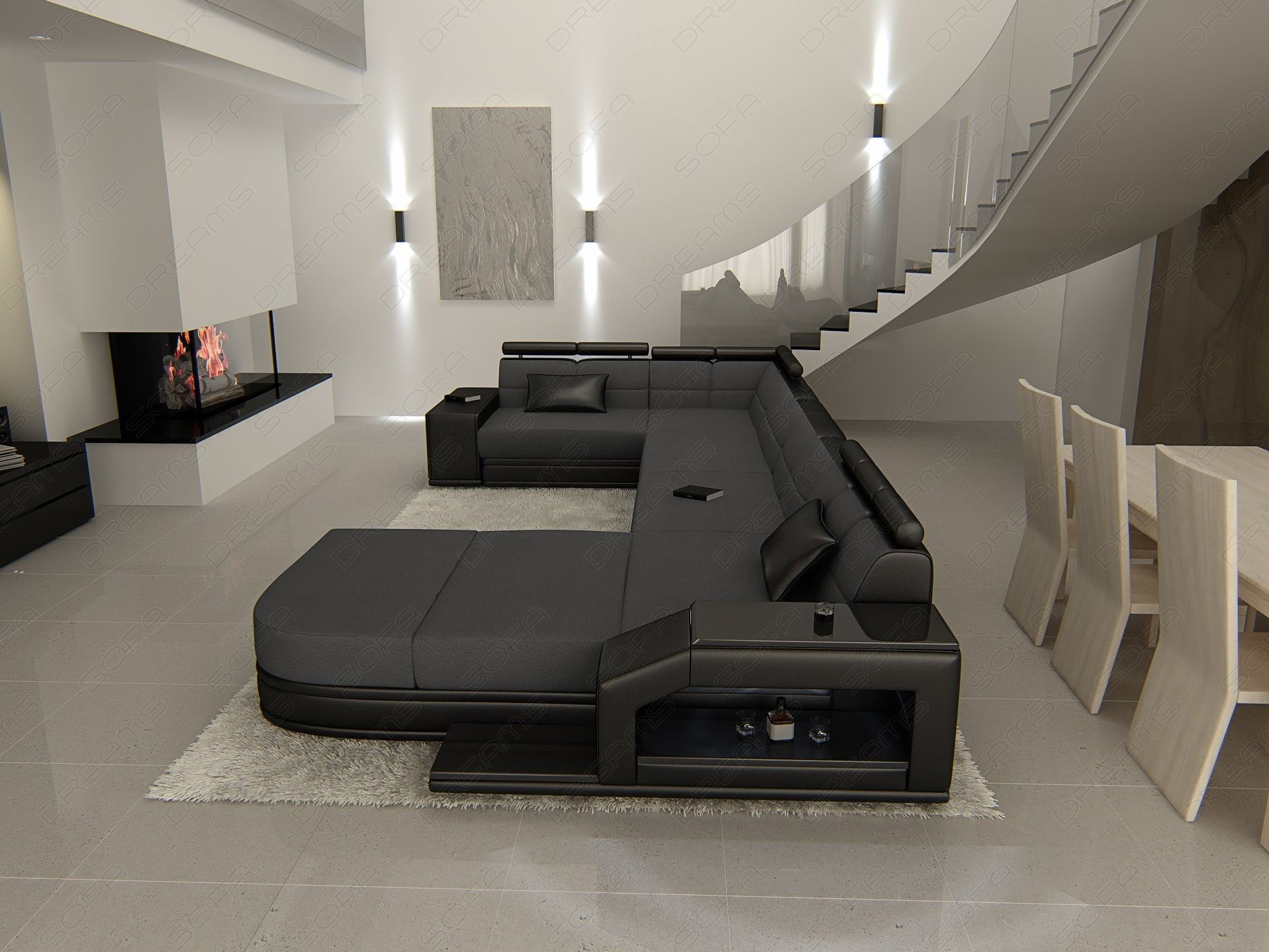 sofa u form stoff fabric sofa venice u shaped pads sofa. Black Bedroom Furniture Sets. Home Design Ideas