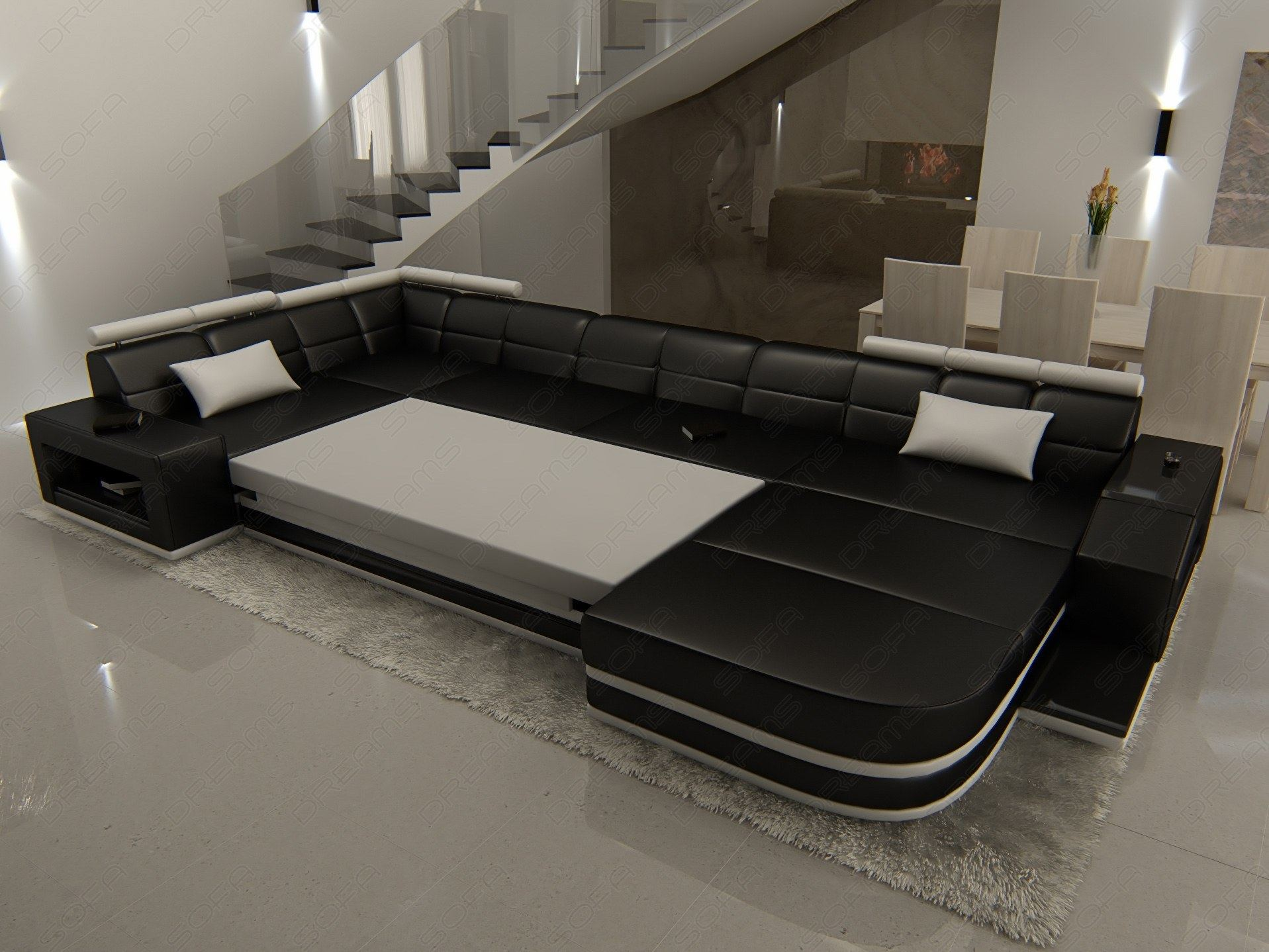 wohnlandschaft ledersofa venedig mit beleuchtung design schwarz ebay. Black Bedroom Furniture Sets. Home Design Ideas
