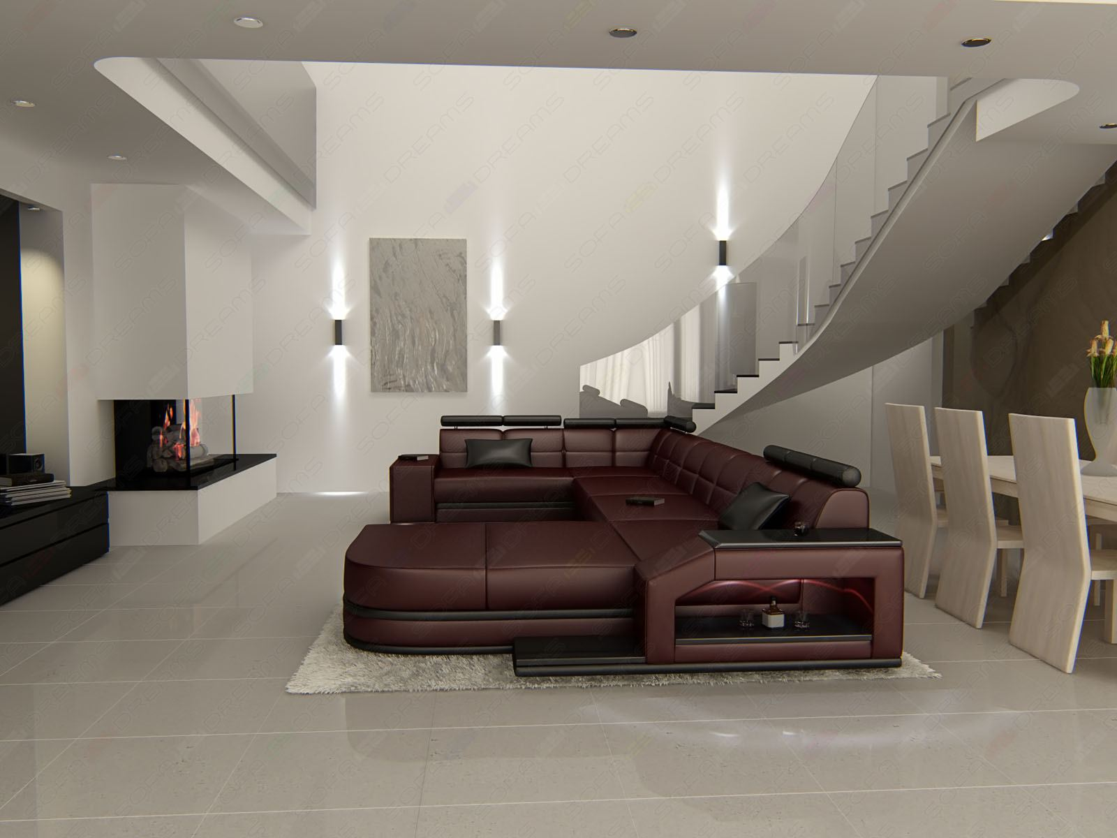 wohnlandschaft ledersofa venedig weinrot ecksofa mit. Black Bedroom Furniture Sets. Home Design Ideas