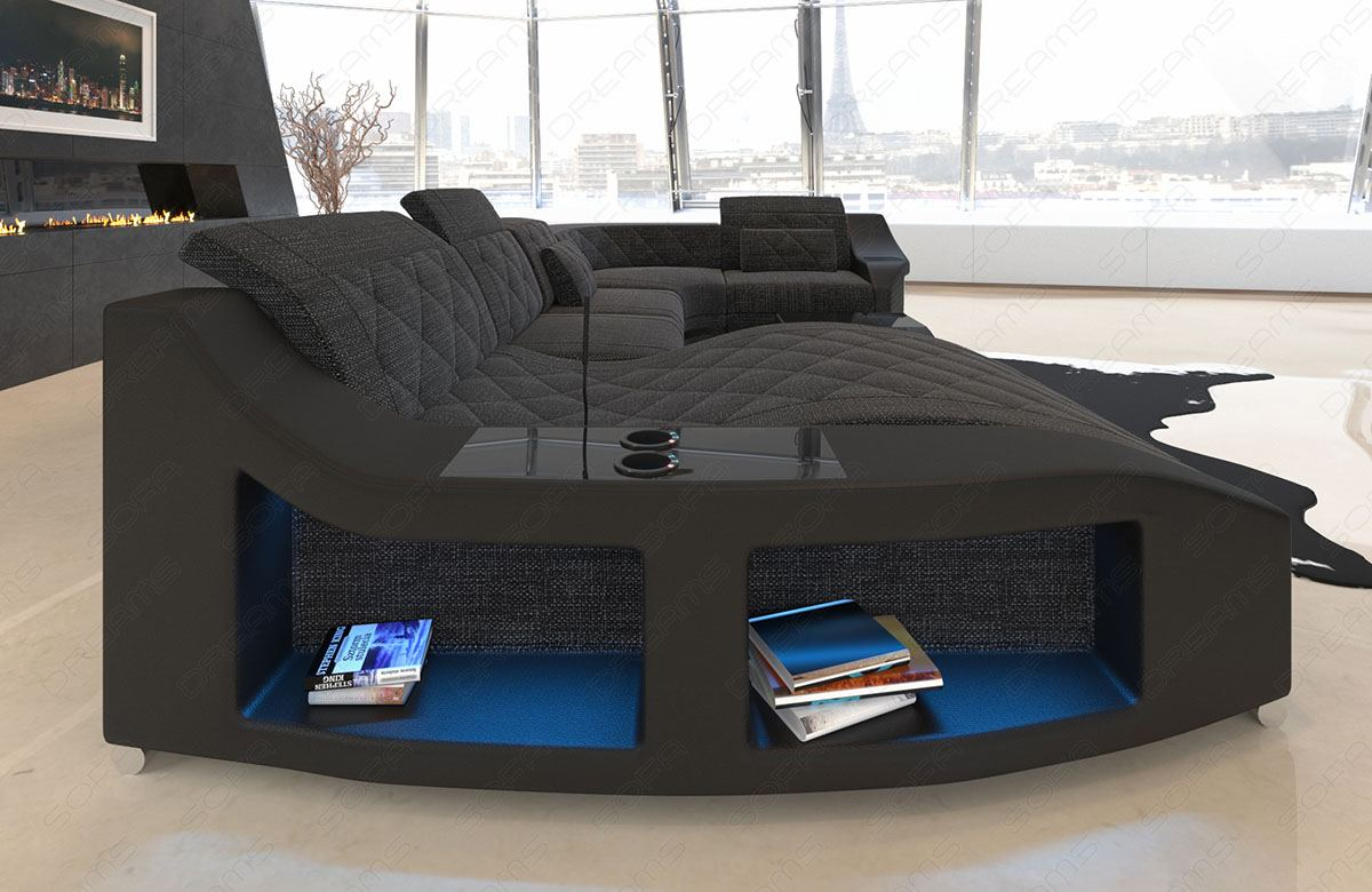 Sofa Wohnlandschaft Ecksofa Couch Swing U Stoff Couch ...