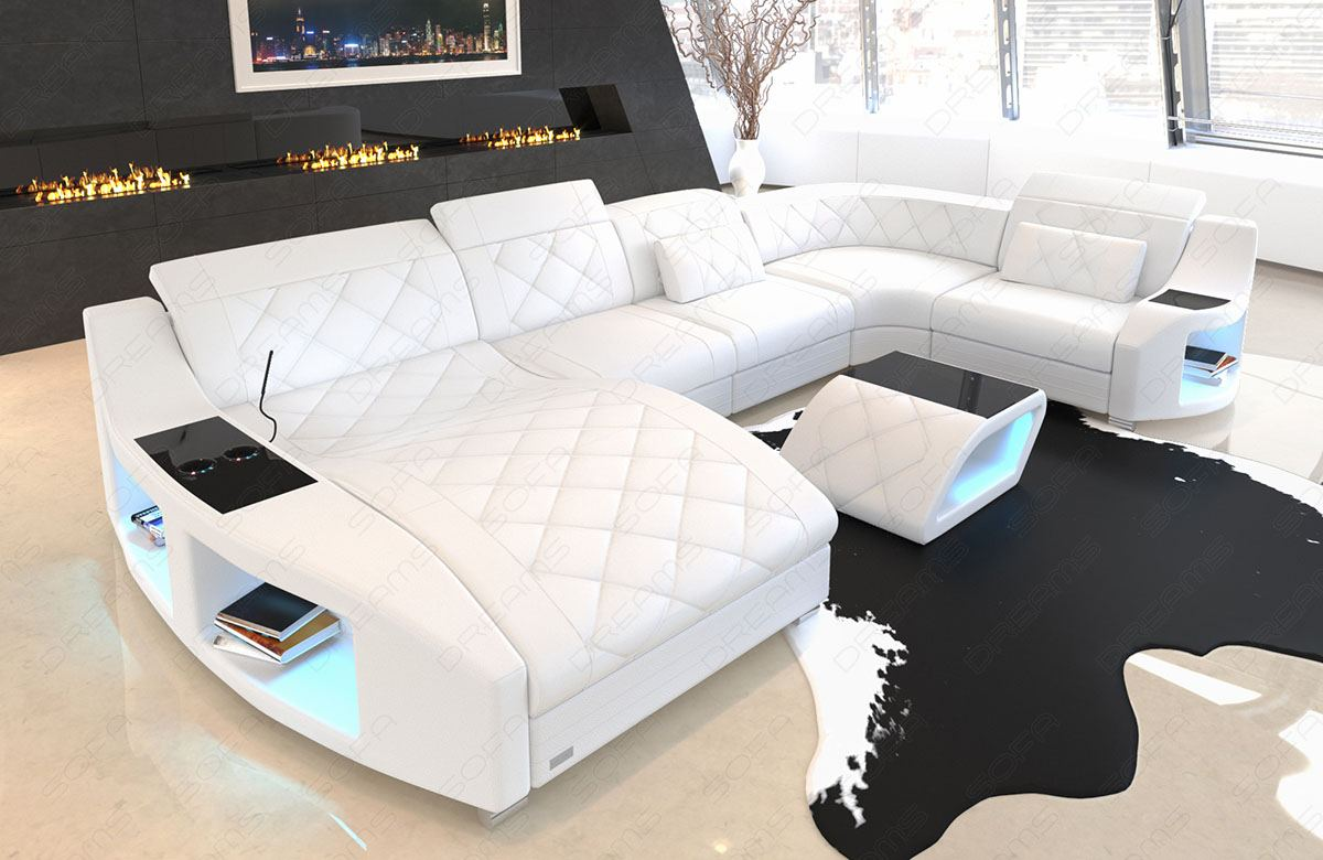 leder couch sofa wohnlandschaft swing u form ottomane k hlende becherhalter usb ebay. Black Bedroom Furniture Sets. Home Design Ideas
