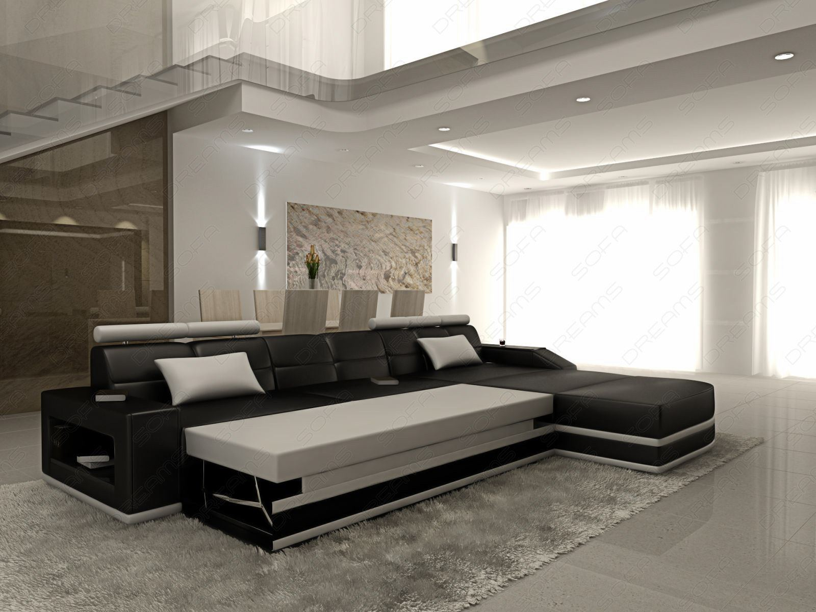 ledersofa venedig l form mit beleuchtung und bettfunktion weiss schwarz ebay. Black Bedroom Furniture Sets. Home Design Ideas